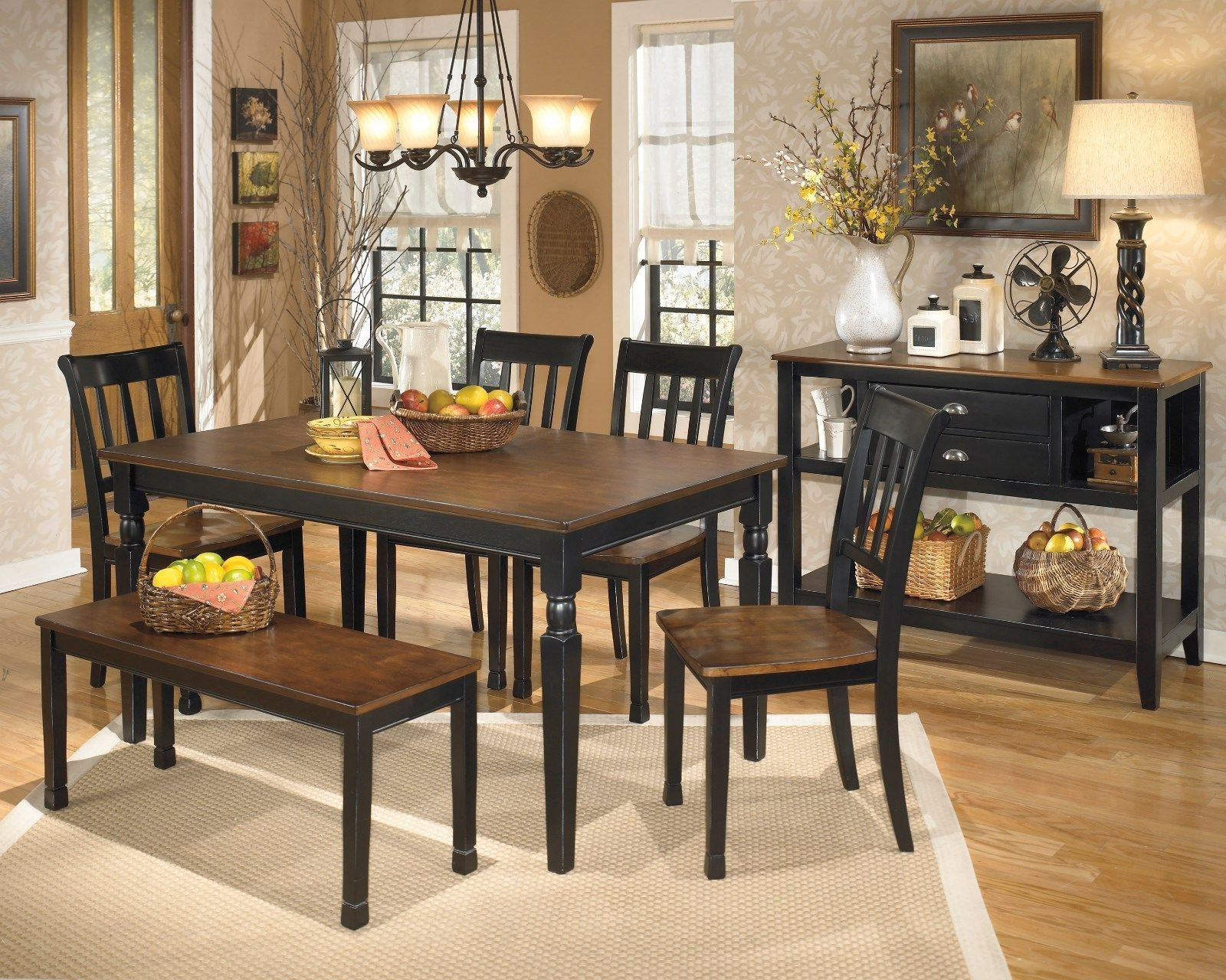 Ashley Furniture Owingsville 6 Piece Dining Table Set D580 Throughout Popular Transitional 6 Seating Casual Dining Tables (View 5 of 25)