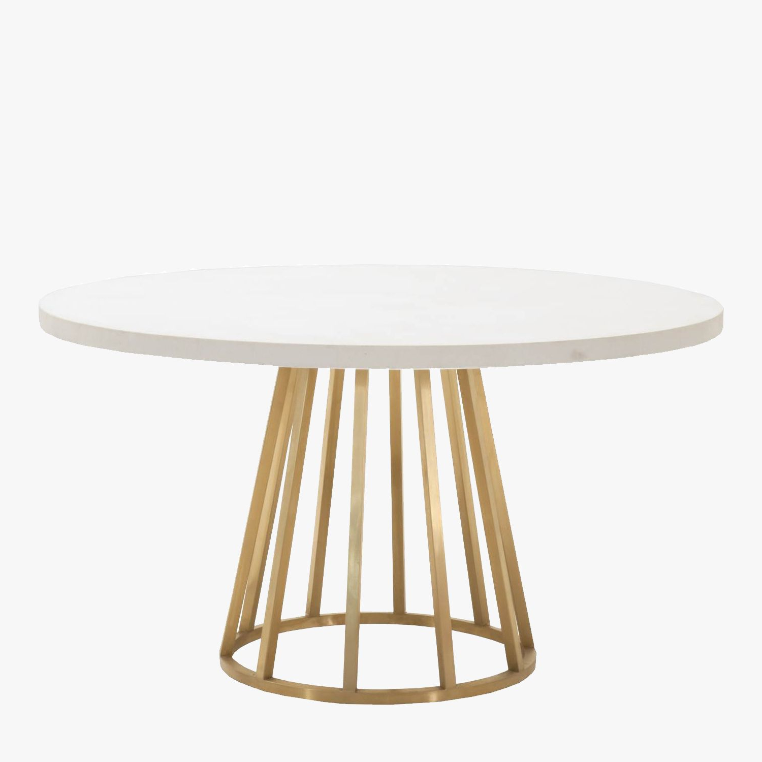 Atlas White Concrete Top Dining Table – Shop Dining Tables Throughout Fashionable Dining Tables With Brushed Gold Stainless Finish (View 2 of 25)