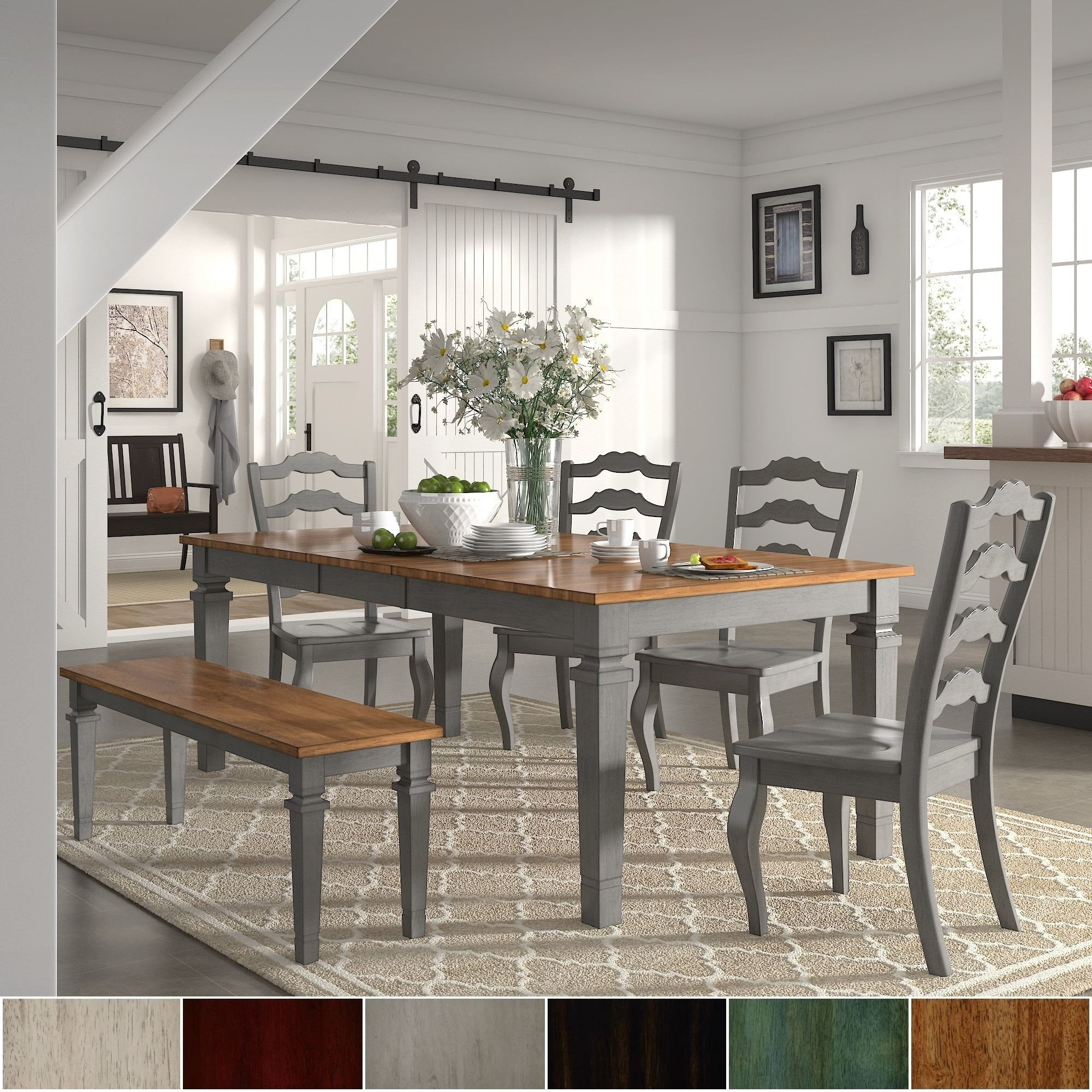 Atwood Transitional Rectangular Dining Tables Pertaining To Most Up To Date Elena Antique Grey Extendable Rectangular Dining Set (View 25 of 25)