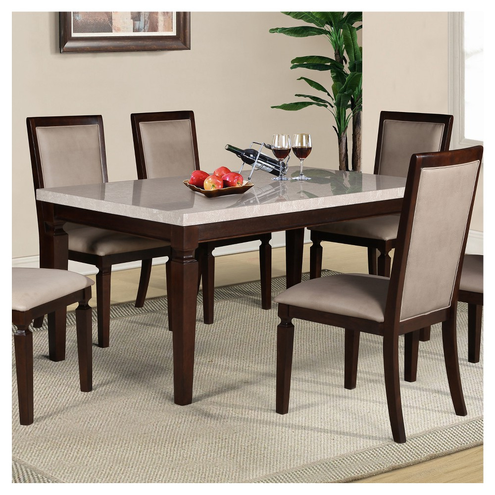 Atwood Transitional Rectangular Dining Tables Regarding Recent Marissa Faux Marble Dining Table Espresso – Home Source (View 21 of 25)