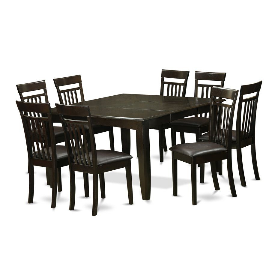 Atwood Transitional Square Dining Tables For Famous Pilning Contemporary 9 Piece Wood Dining Set (View 4 of 25)