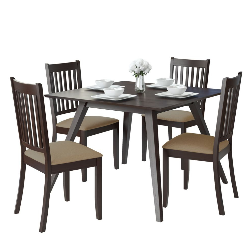 Atwood Transitional Square Dining Tables In Newest Atwood 5 Piece Dining Set With Beige Microfiber Chairs (View 6 of 25)