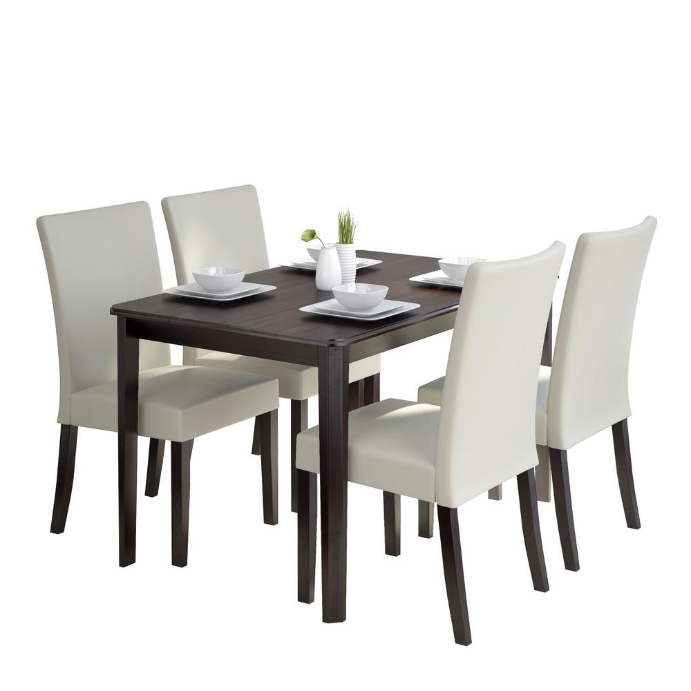 Atwood Transitional Square Dining Tables With Regard To Latest Corliving Atwood 5 Piece Dining Set With Cream Leatherette (View 23 of 25)