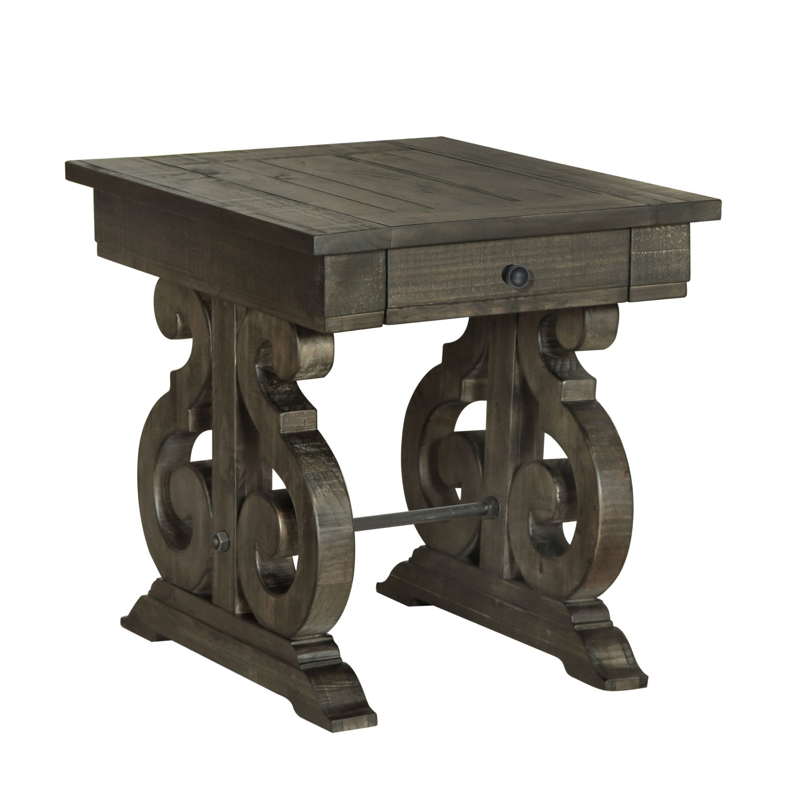 Bellamy Traditional Weathered Peppercorn Storage End Table Throughout Most Recently Released Charcoal Transitional 6 Seating Rectangular Dining Tables (View 4 of 25)