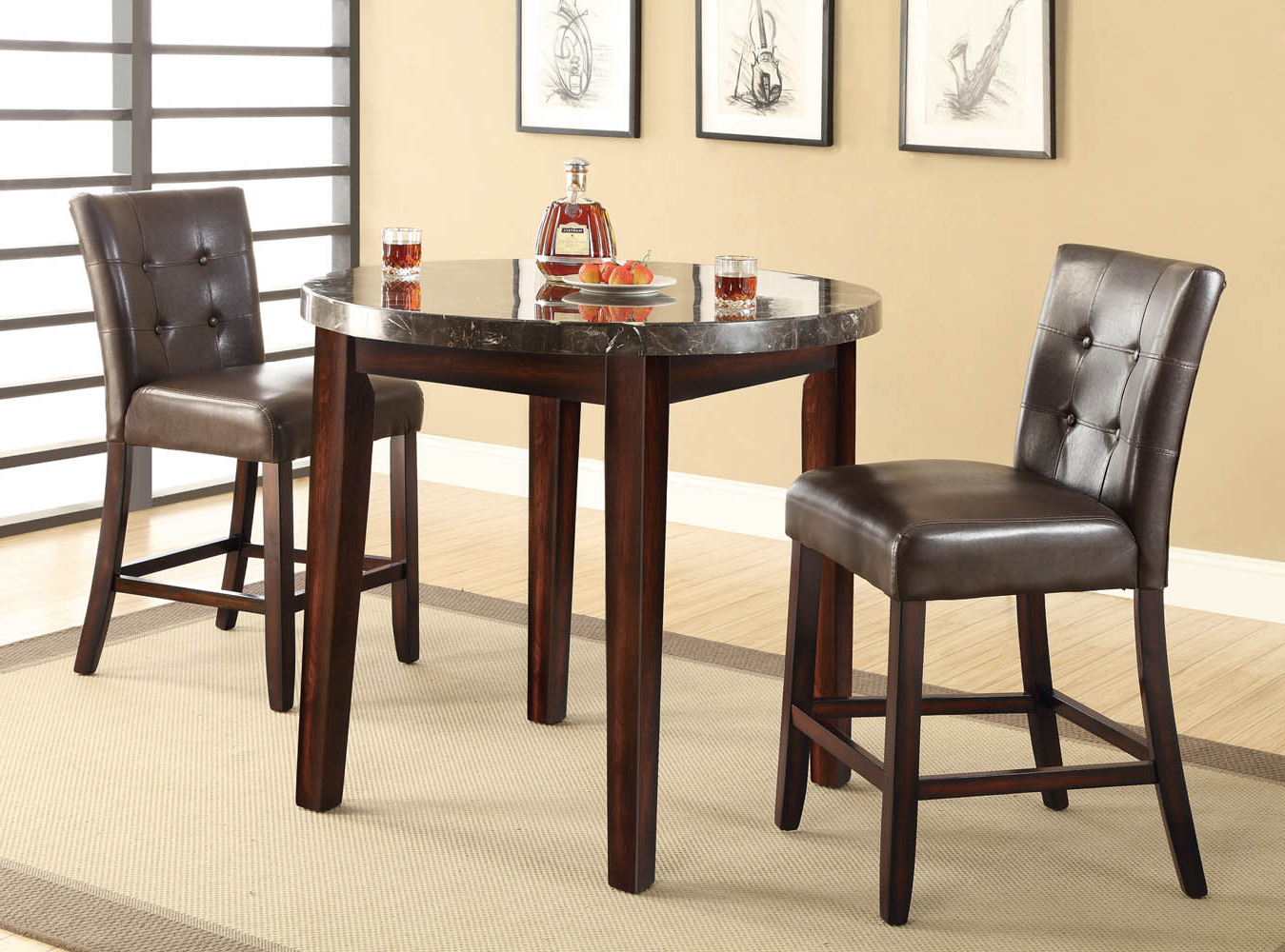 Best and Newest 3 Pieces Dining Tables And Chair Set pertaining to 3 Piece Marble Top Dining Table Set