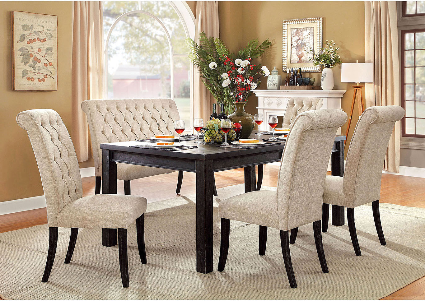Best And Newest 5Th Avenue Furniture – Mi Sania I Antique Black Dining Table Intended For Antique Black Wood Kitchen Dining Tables (View 12 of 25)
