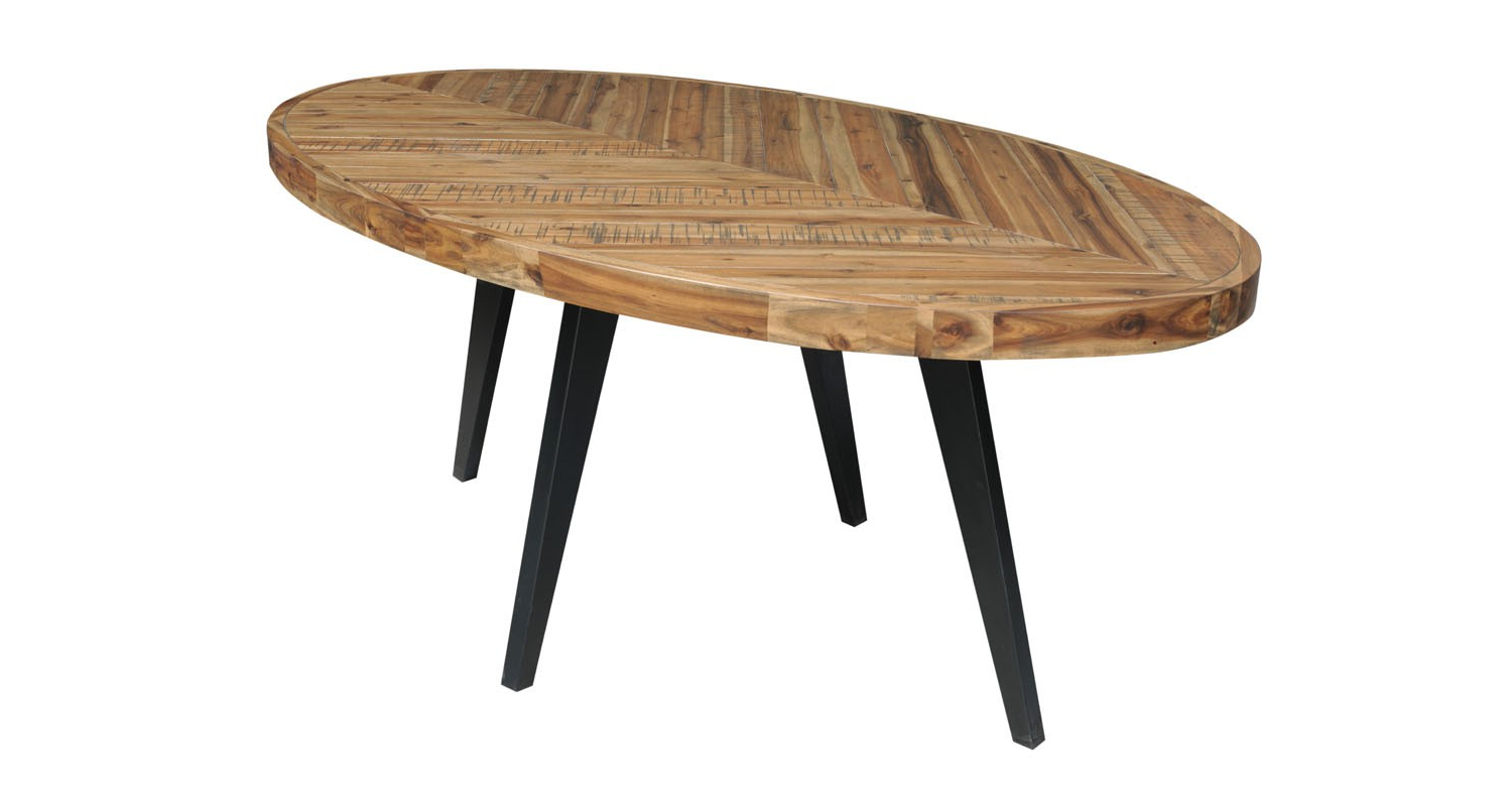 Best and Newest Acacia Dining Tables With Black-Legs in Avalon Oval Dining Table Acacia Top/metal Legs Black 72*42