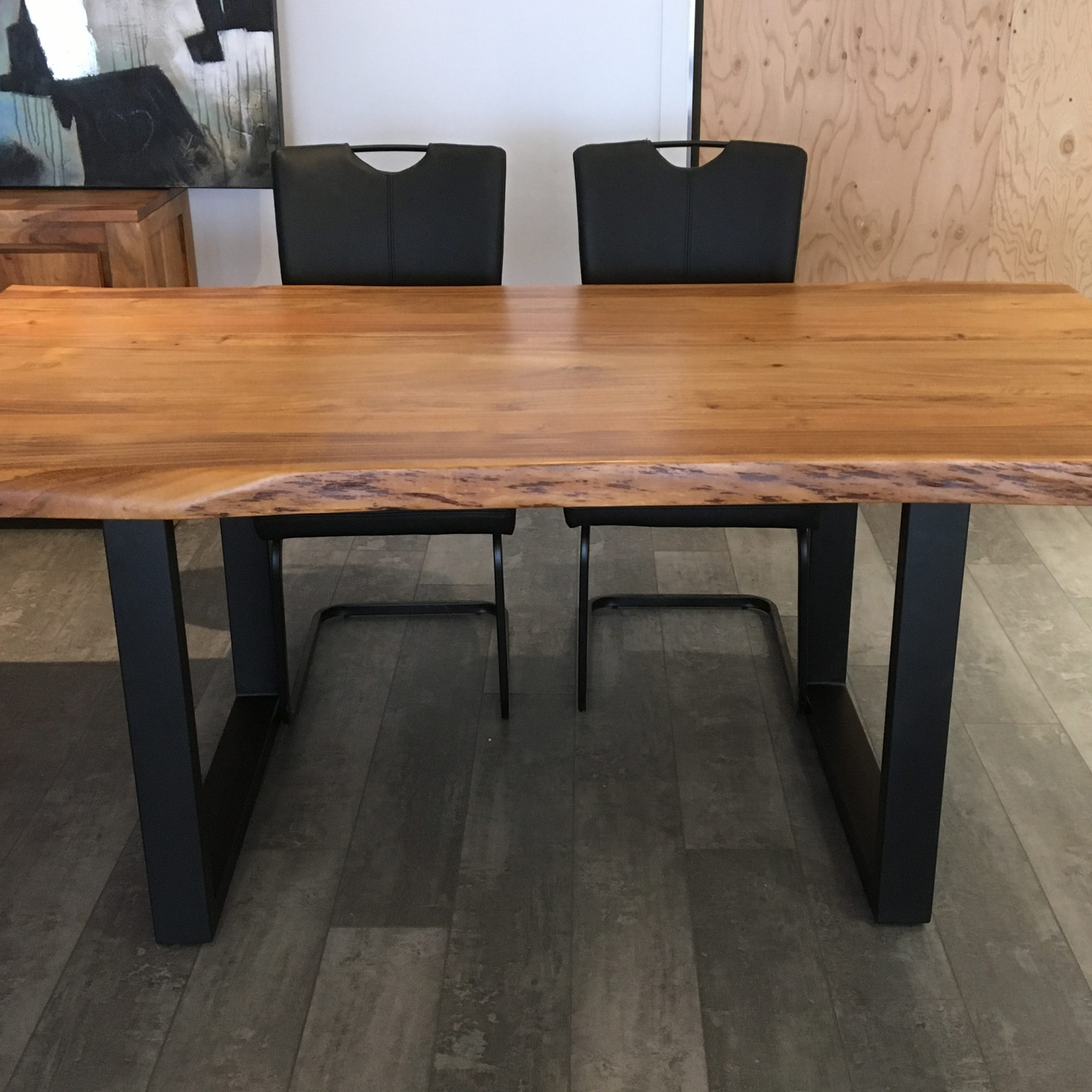 """Best and Newest Acacia Dining Tables With Black Rocket-Legs with Corcoran Acacia Live Edge Dining Table With Black Rocket-Legs - 96"""""""