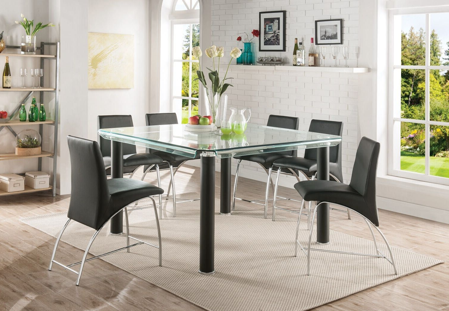 Best And Newest Acme Gordie Counter Height Table In Black & Clear Glass Pertaining To Artefac Contemporary Casual Dining Tables (View 19 of 25)