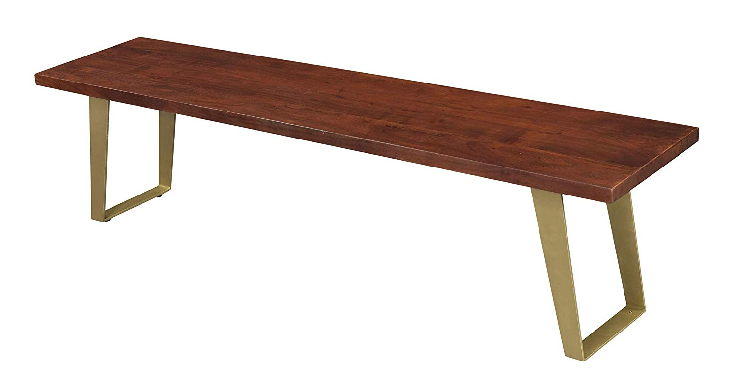 Best And Newest Amazon – Treasure Trove 37106 Sedona Dining Bench Brown Pertaining To Acacia Wood Top Dining Tables With Iron Legs On Raw Metal (View 6 of 25)