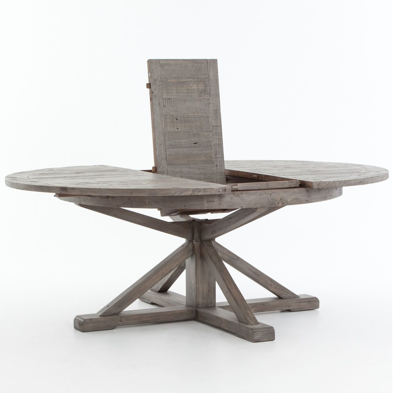 Best And Newest Cintra Reclaimed Wood Extending Round Dining Table 63 Within Distressed Grey Finish Wood Classic Design Dining Tables (View 11 of 25)