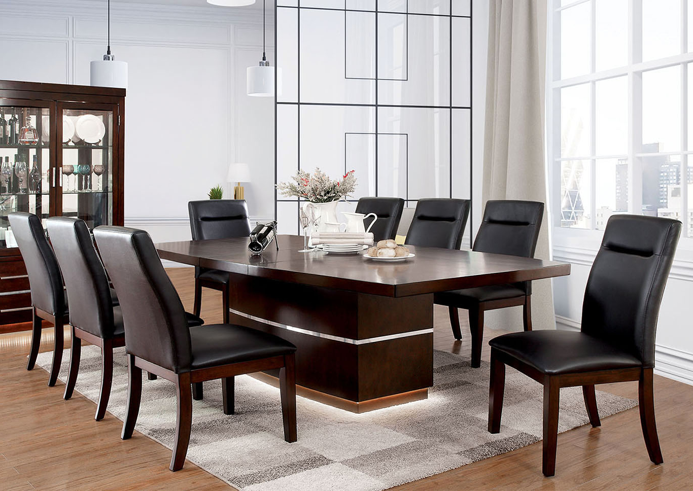 Best and Newest Coaster Contemporary 6-Seating Rectangular Casual Dining Tables throughout The Furniture Source Lawrence Dark Cherry Extension Dining