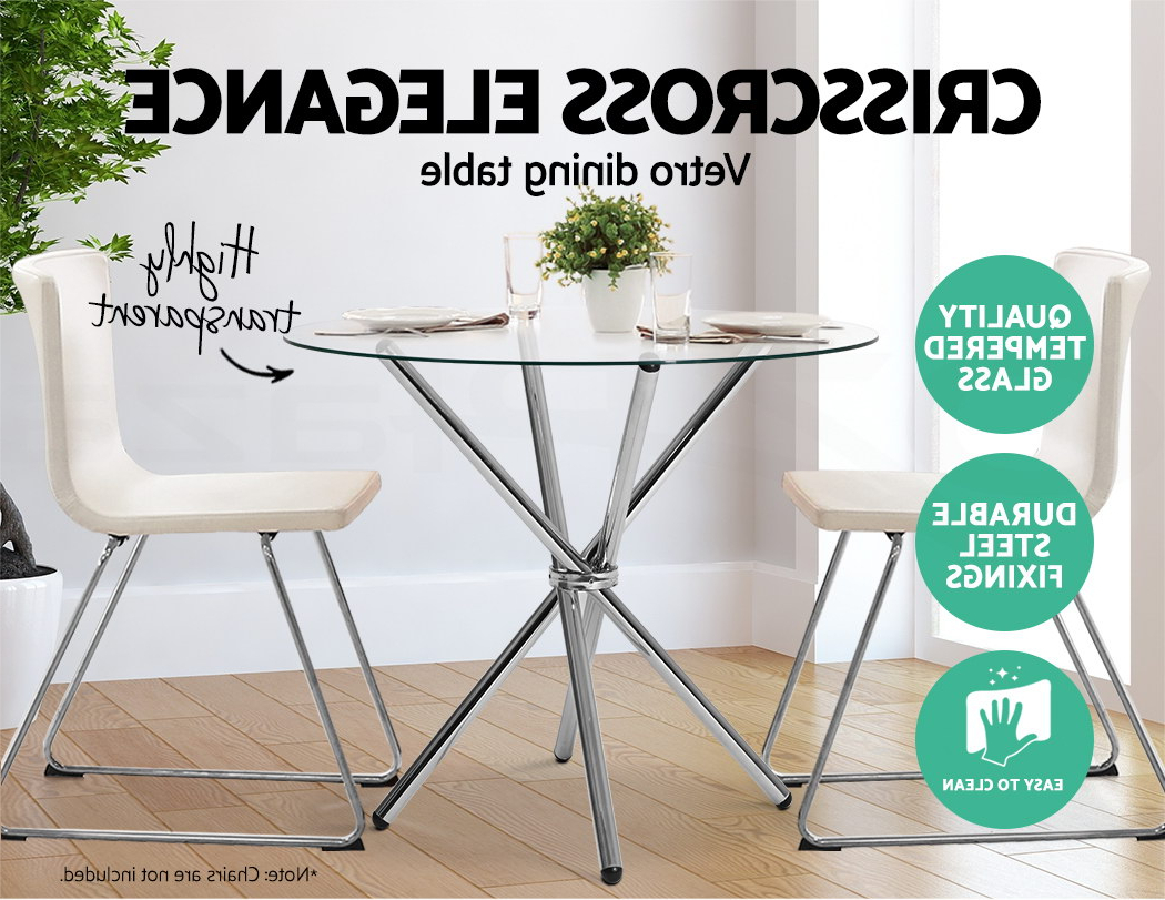 Best and Newest Eames Style Dining Tables With Chromed Leg And Tempered Glass Top in Details About Artiss Vetro Round Dining Table Tempered Glass 4 Seater  Chrome Steel Legs Cross