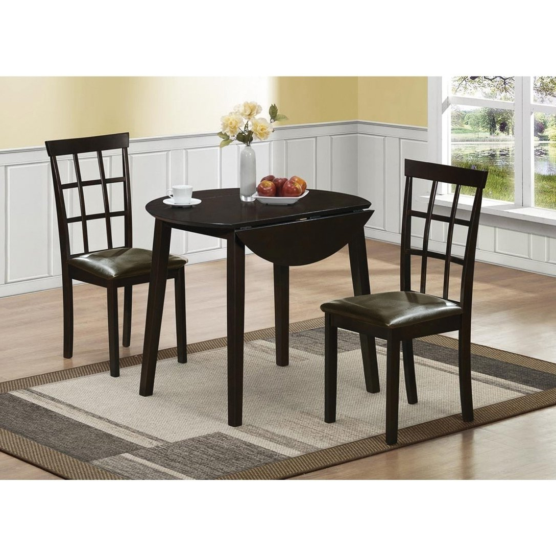 Best and Newest Home Source Helena Dark Espresso Round Dining Set Drop Leaf pertaining to Transitional 4-Seating Drop-Leaf Casual Dining Tables
