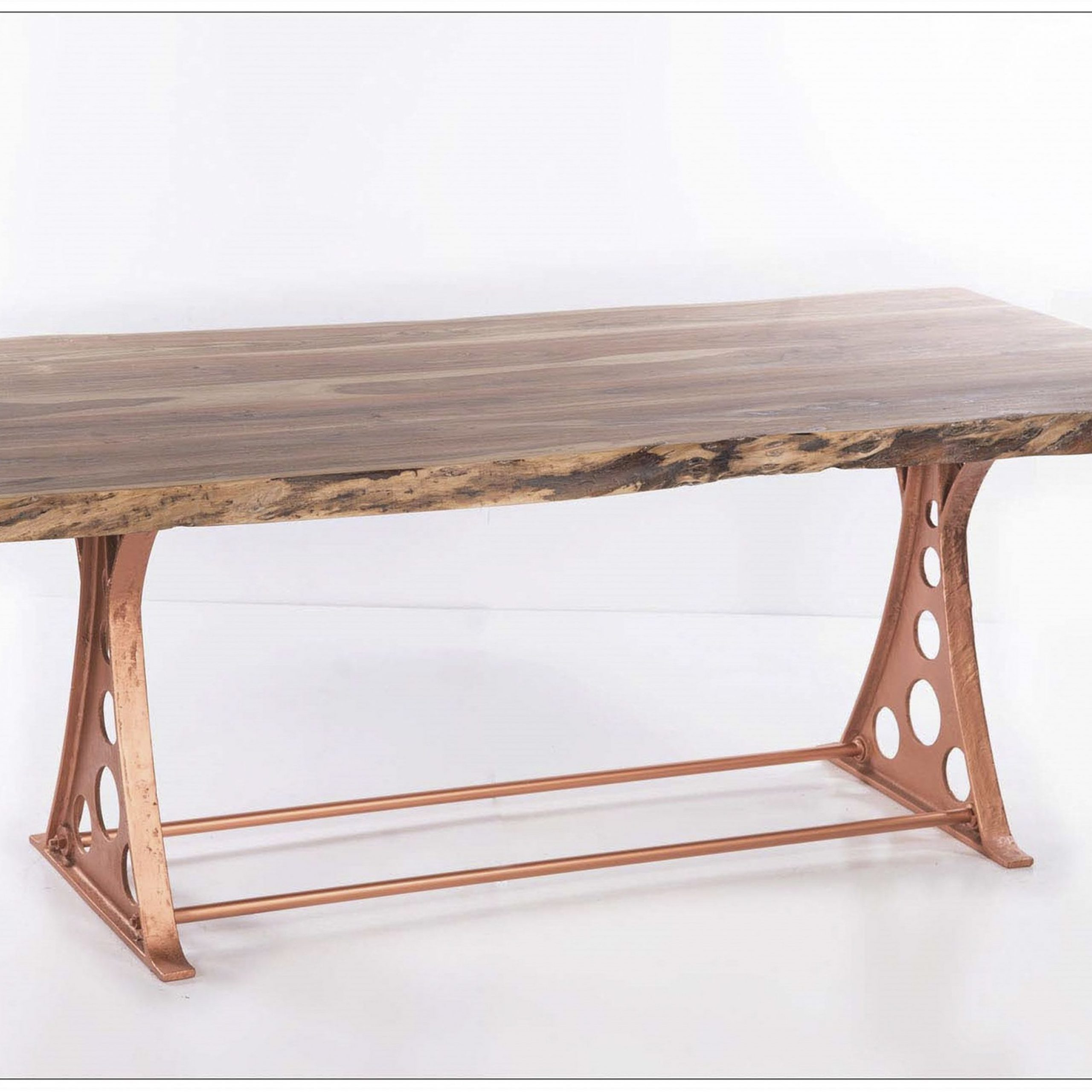 Best And Newest Iron Dining Tables With Mango Wood Regarding Adjustable Copper Cast Iron Dining Table With Starburst (View 4 of 25)
