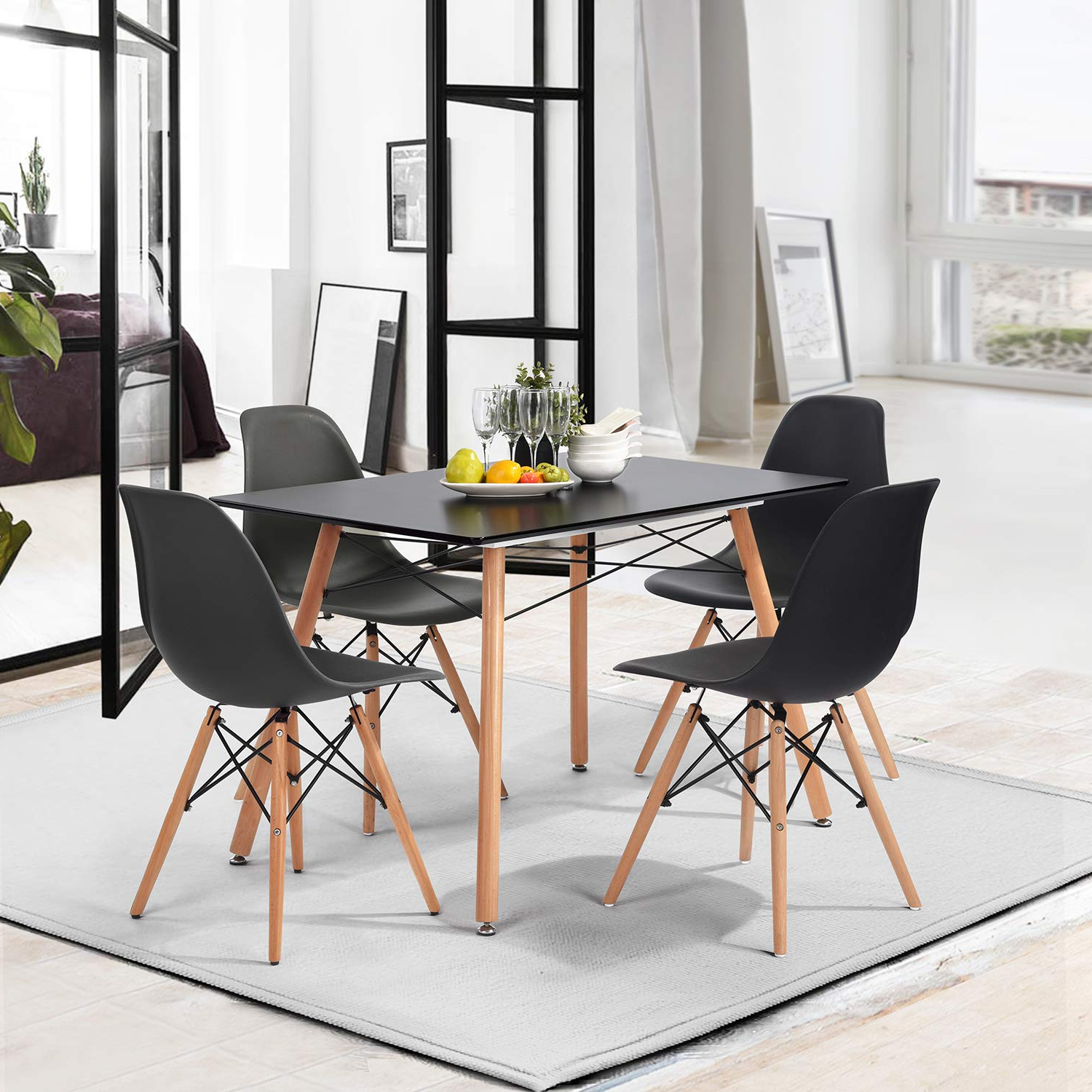 Best and Newest Mid Century Rectangular Top Dining Tables With Wood Legs with regard to Amazon - Homy Casa Inc 40 Rectangular Top With Wooden