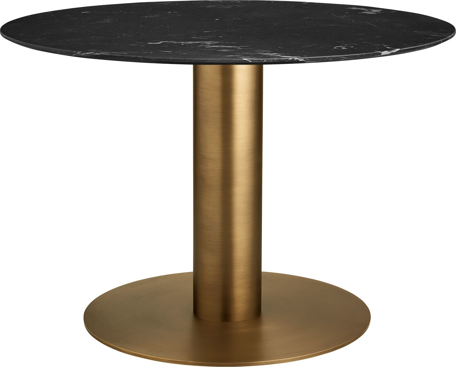 Best and Newest Round 2.0 Dining Table, Antique Brass Base with Dining Tables With Stained Ash Walnut