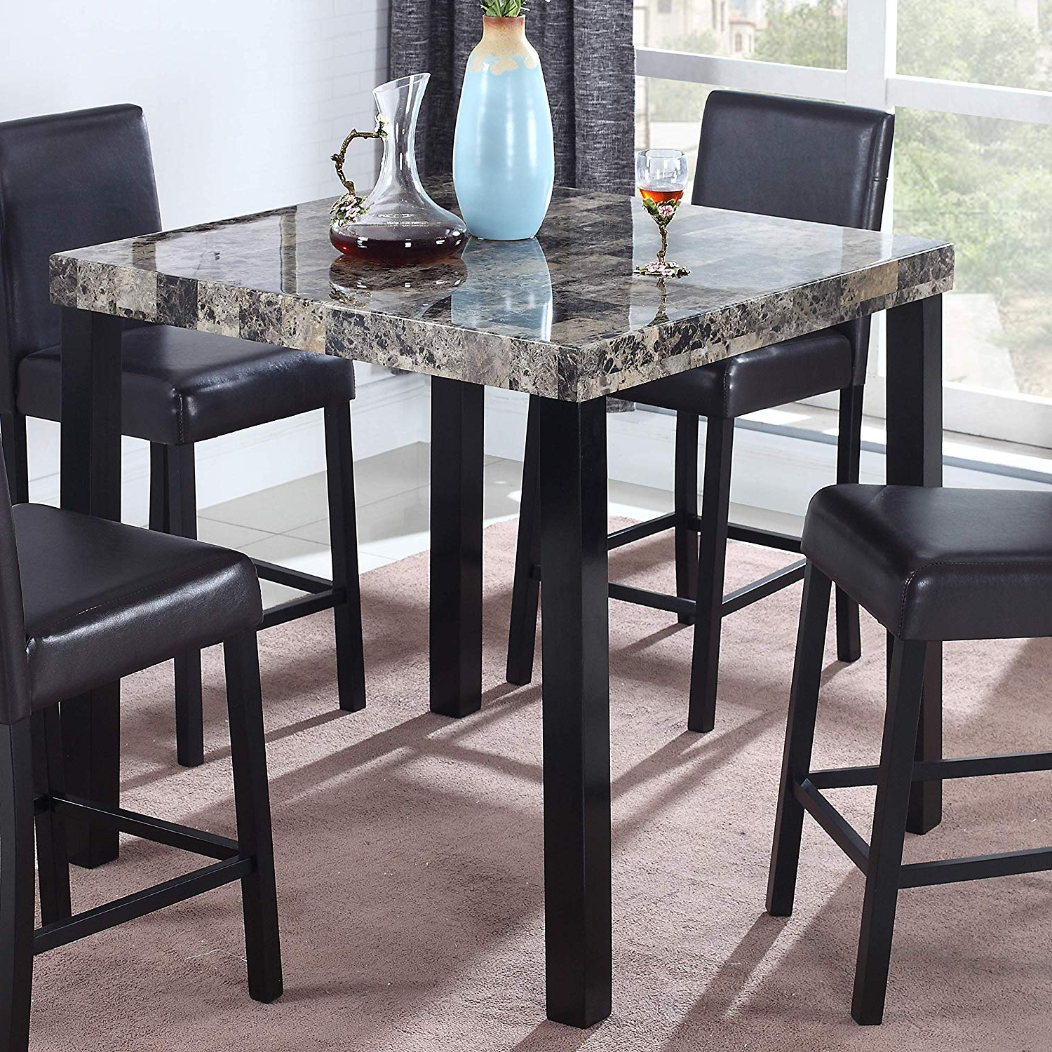 Best Master Furniture Britney Transitional Faux Marble Top Counter Table,  Espresso Finish For Popular Charcoal Transitional 6 Seating Rectangular Dining Tables (View 5 of 25)