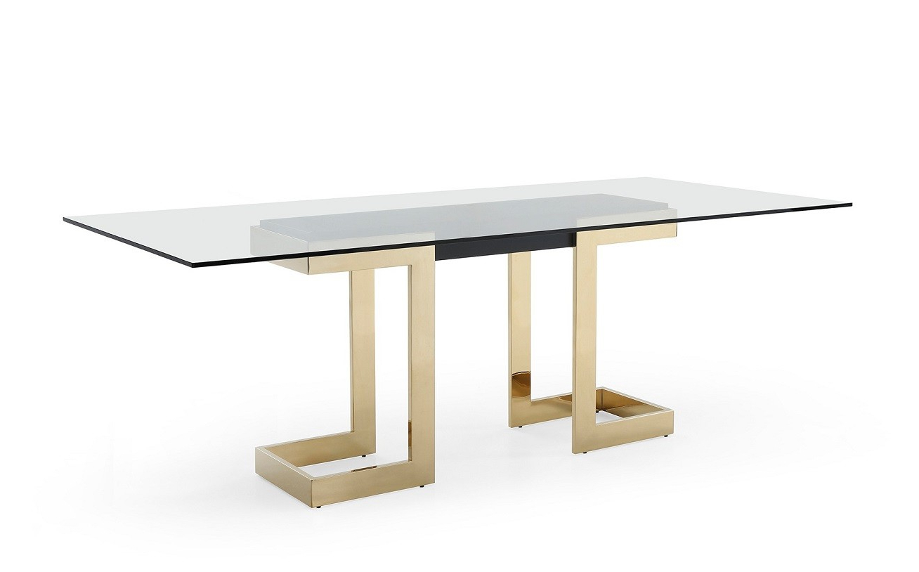 Best Modern Contemporary Furniture Stores Orlando Miami throughout Well-known Modern Gold Dining Tables With Clear Glass