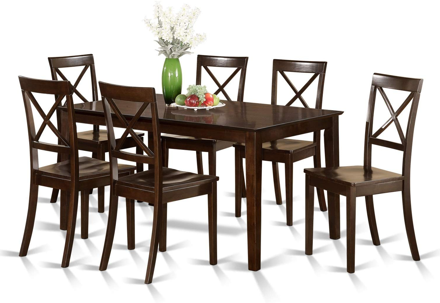 Cab7S Cap W 7 Pc Formal Dining Room Set – Table And 6 Formal Dining Chairs Regarding Most Recent Cappuccino Finish Wood Classic Casual Dining Tables (View 1 of 25)