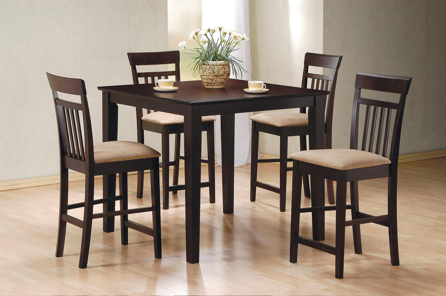 Cappuccino Finish Wood Classic Casual Dining Tables With Most Popular Coaster 5 Piece Square Cappuccino Counter Height Dining (View 9 of 25)