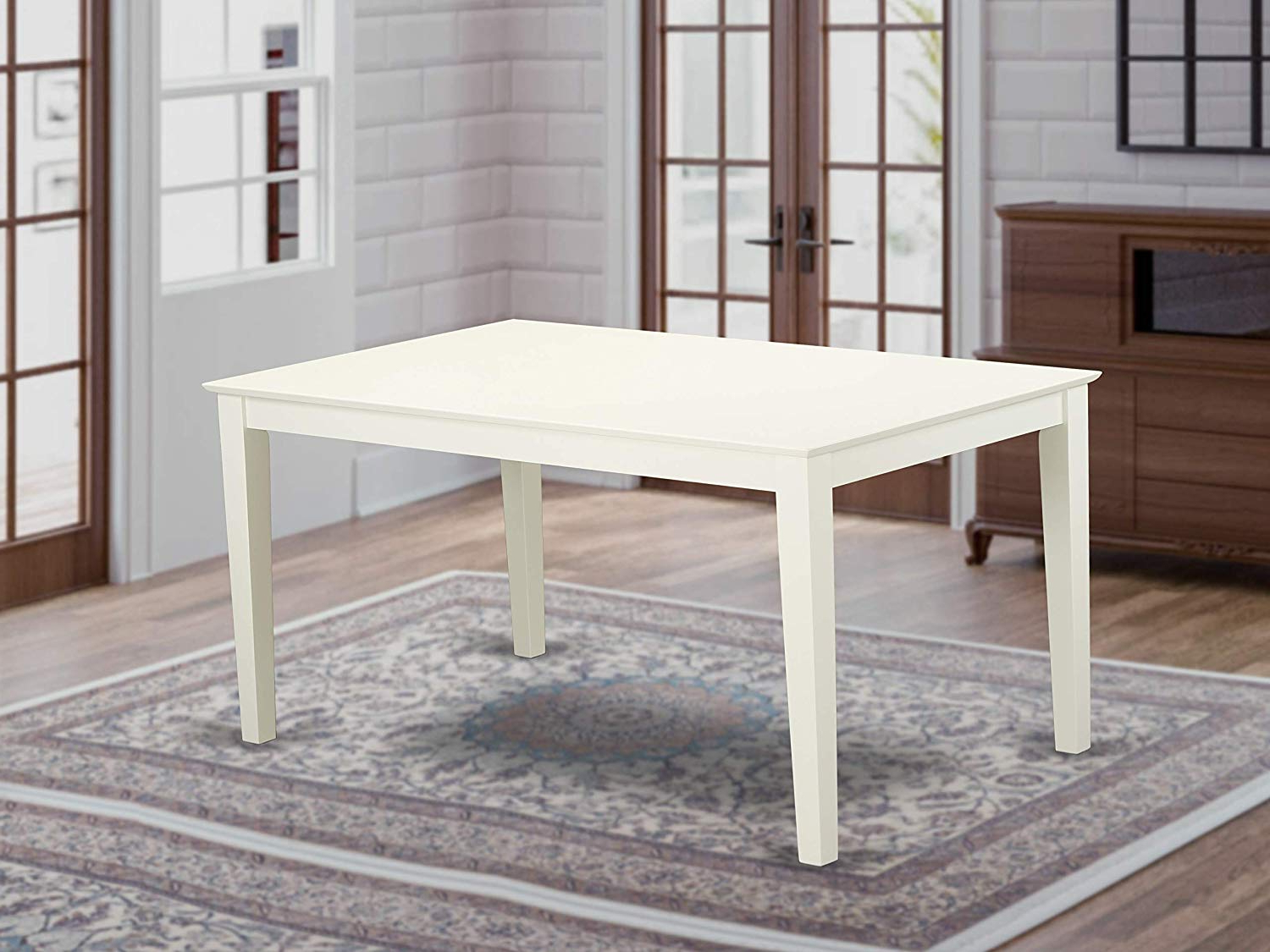 "Capri Rectangular Dining Table 36""x60"" With Solid Wood Top In Linen White  Finish Within Well Known Small Dining Tables With Rustic Pine Ash Brown Finish (View 11 of 25)"