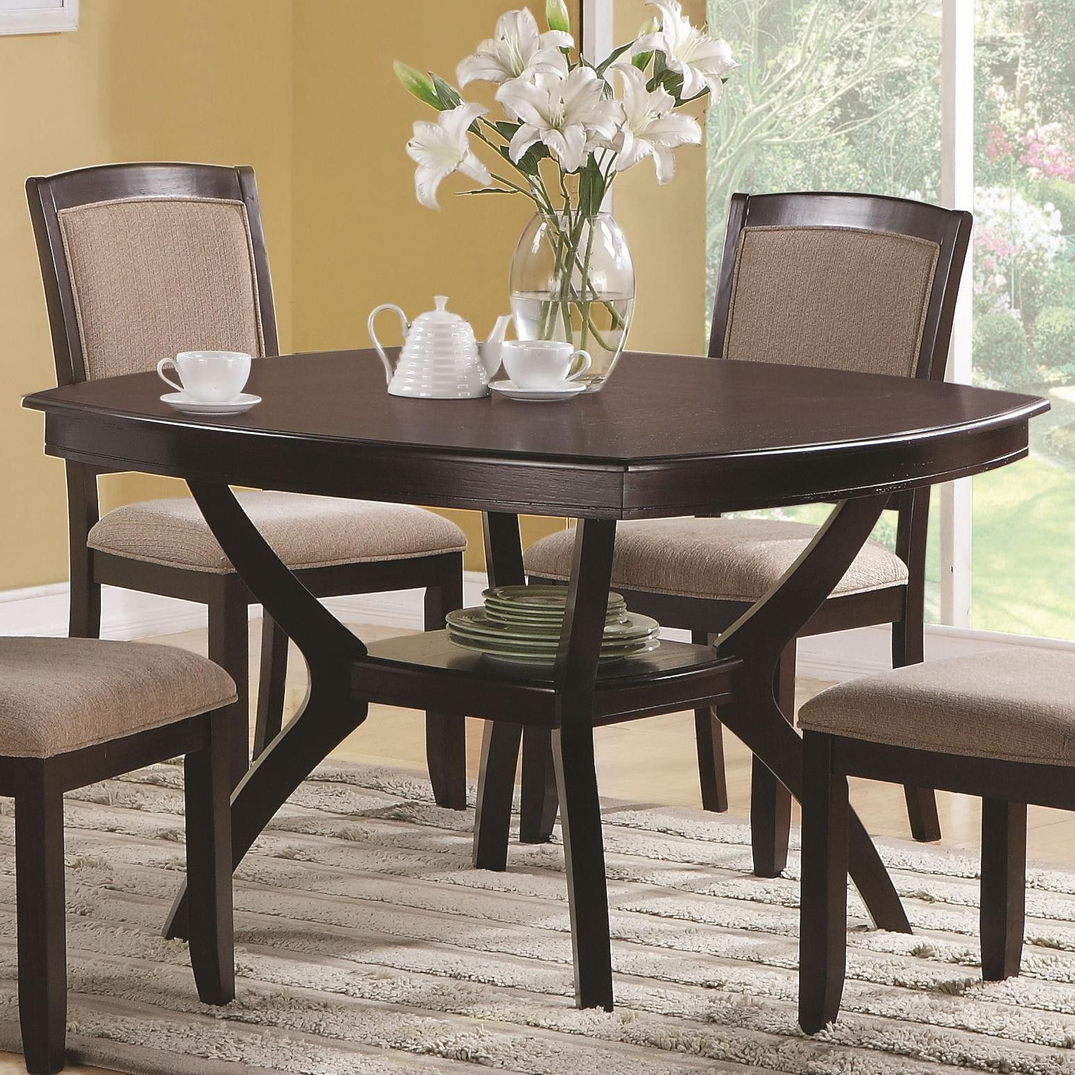 Casual Rounded Edge Square Dining Table Cappuccino Coaster Regarding Well Known Atwood Transitional Square Dining Tables (View 14 of 25)