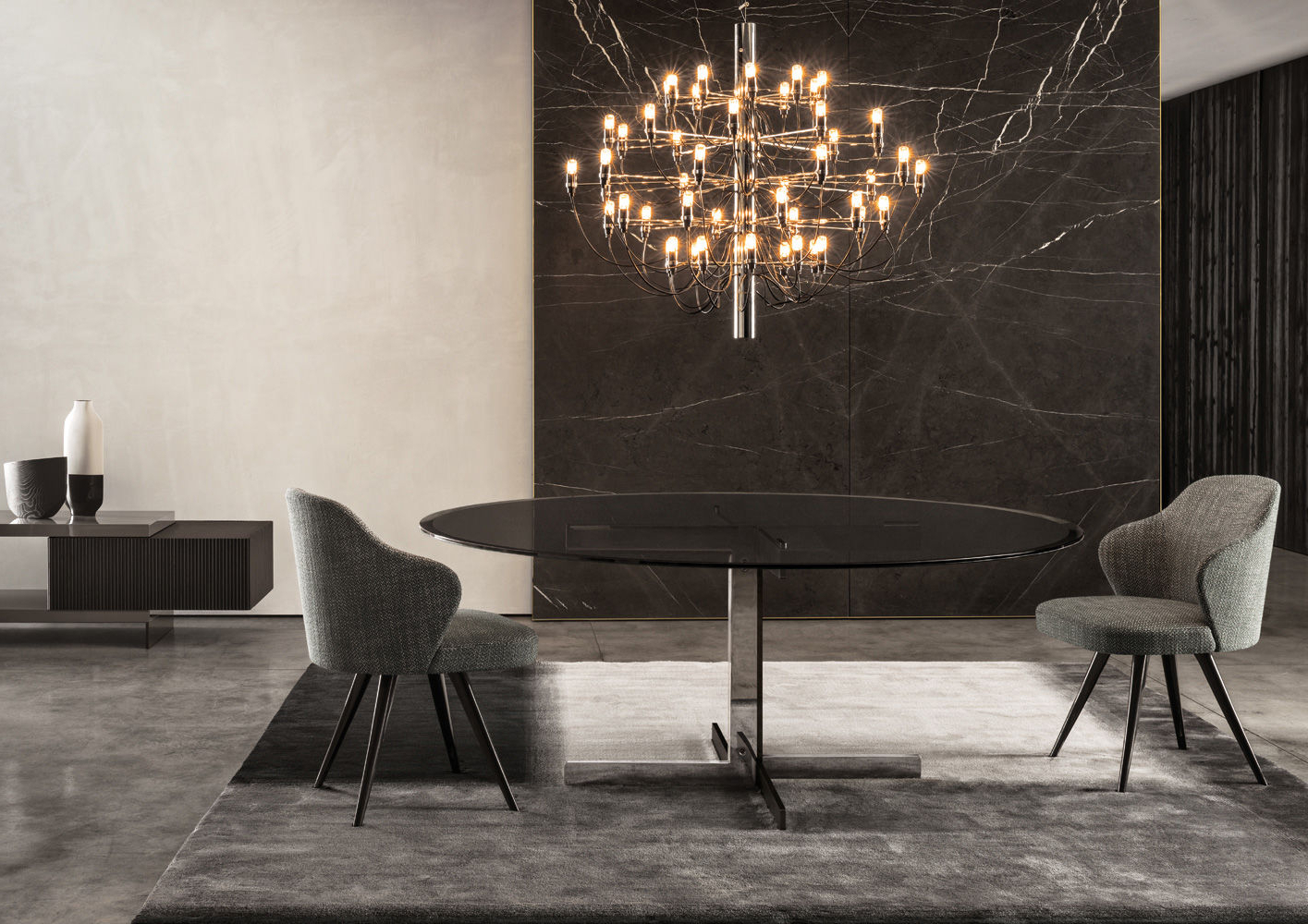 """Catlin """"dining"""" Table Regarding Smoked Oval Glasstop Dining Tables (View 13 of 25)"""