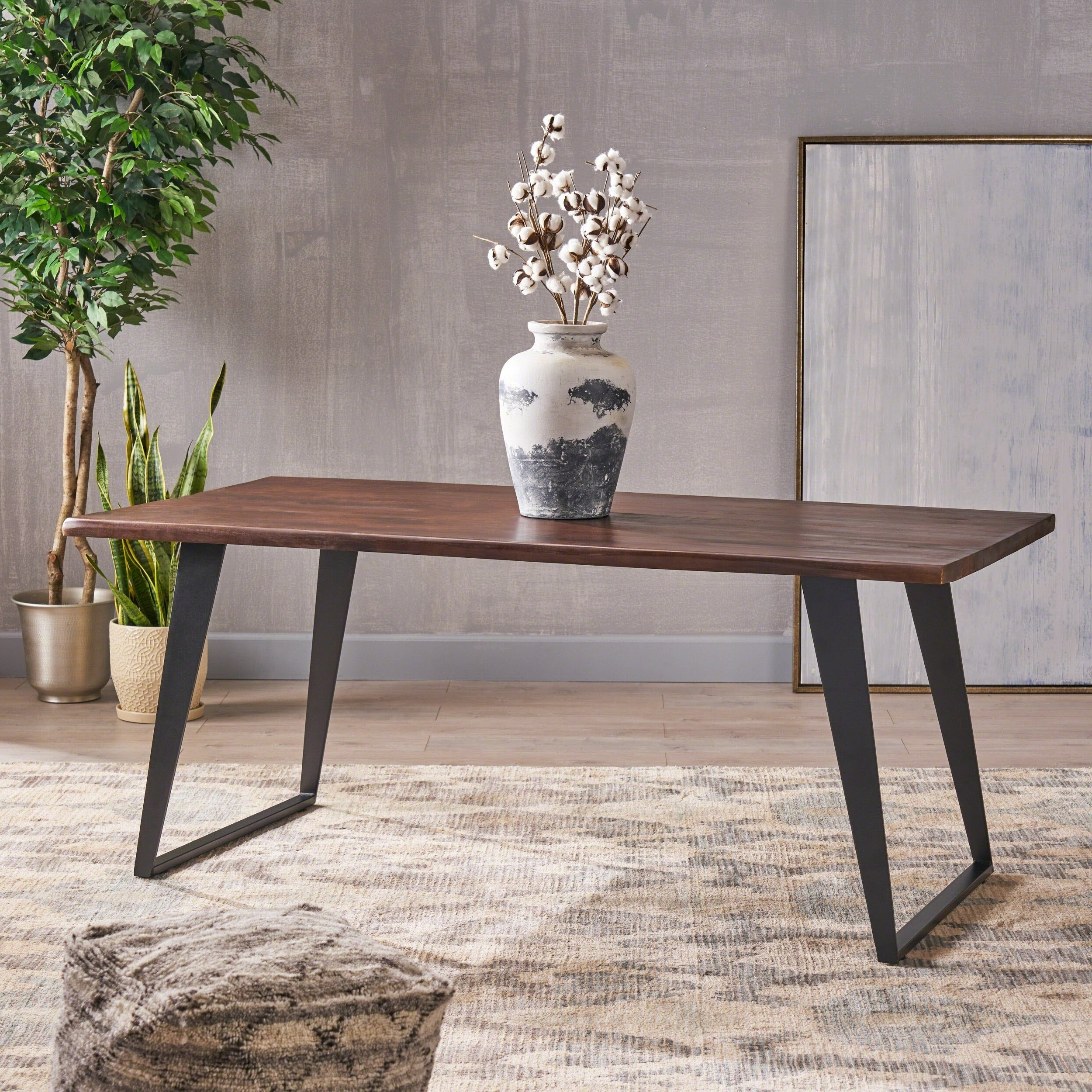 Cavalier Contemporary Indoor 6 Seater Rectangular Acacia Wood Dining Table Christopher Knight Home In 2019 Acacia Wood Top Dining Tables With Iron Legs On Raw Metal (View 8 of 25)