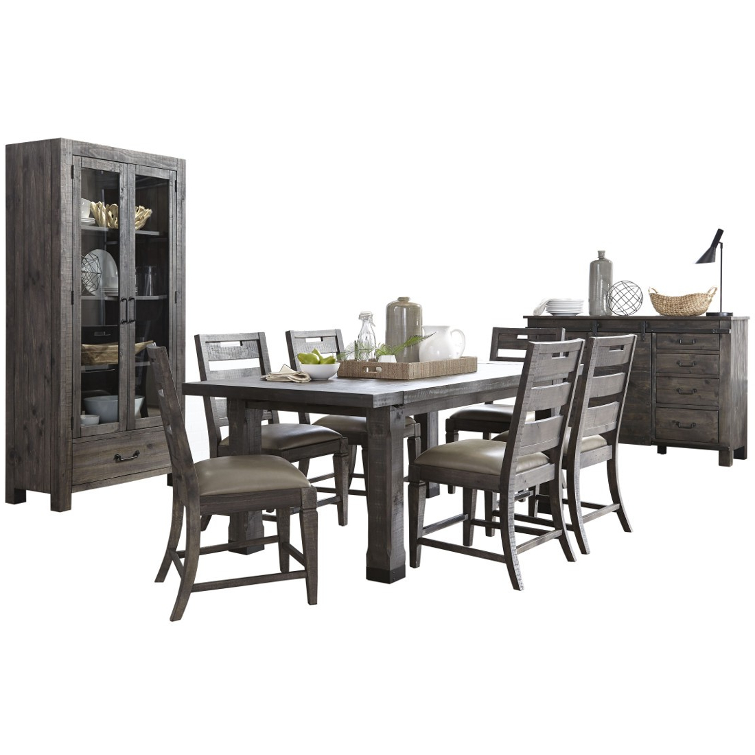 Charcoal Transitional 6 Seating Rectangular Dining Tables In Latest Magnussen Abington Rectangular Dining Table Set In Weathered Charcoal (View 10 of 25)