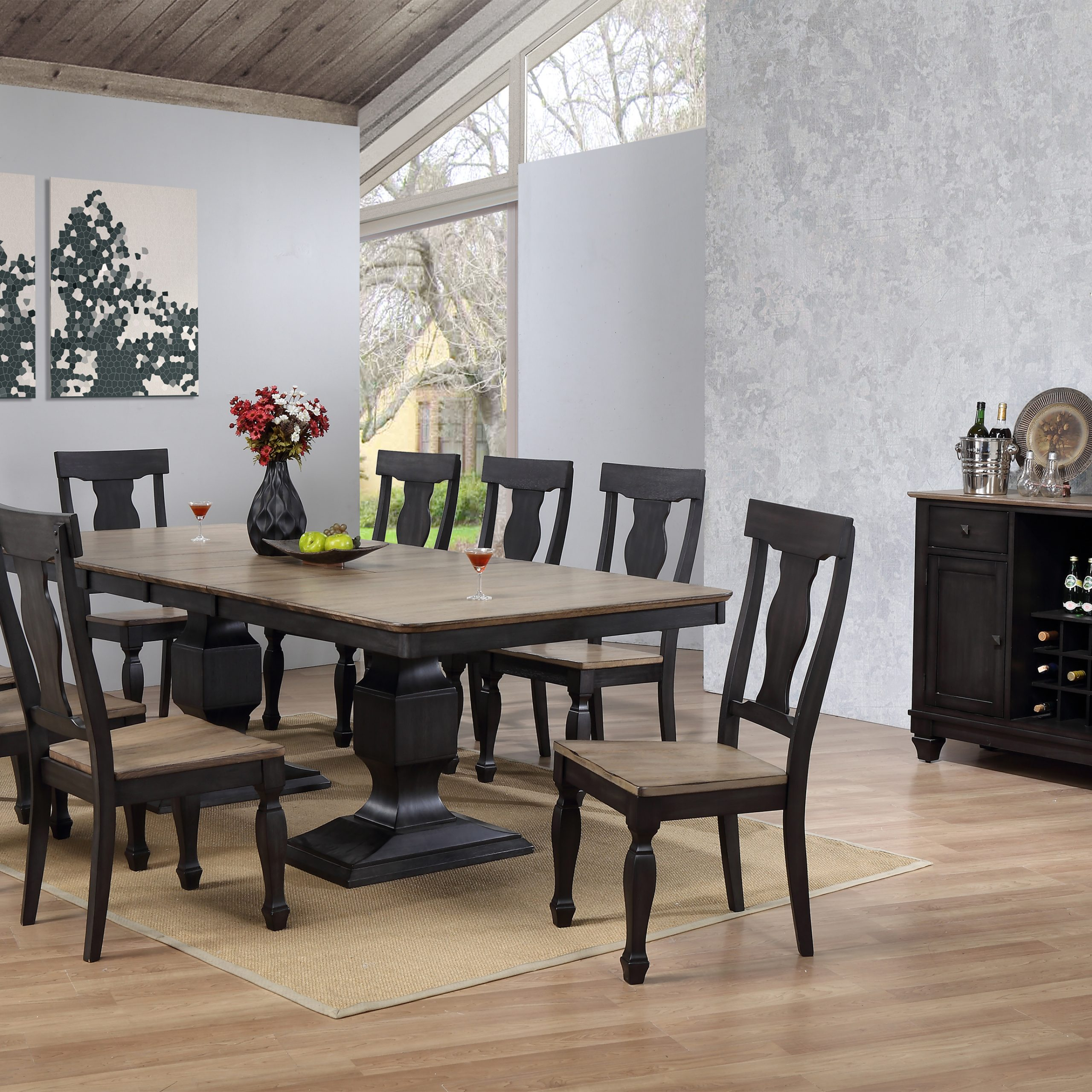 Charcoal Transitional 6 Seating Rectangular Dining Tables Within Latest Nysha 10 Piece Dining Room Set, Charcoal & Oak Wood (View 13 of 25)