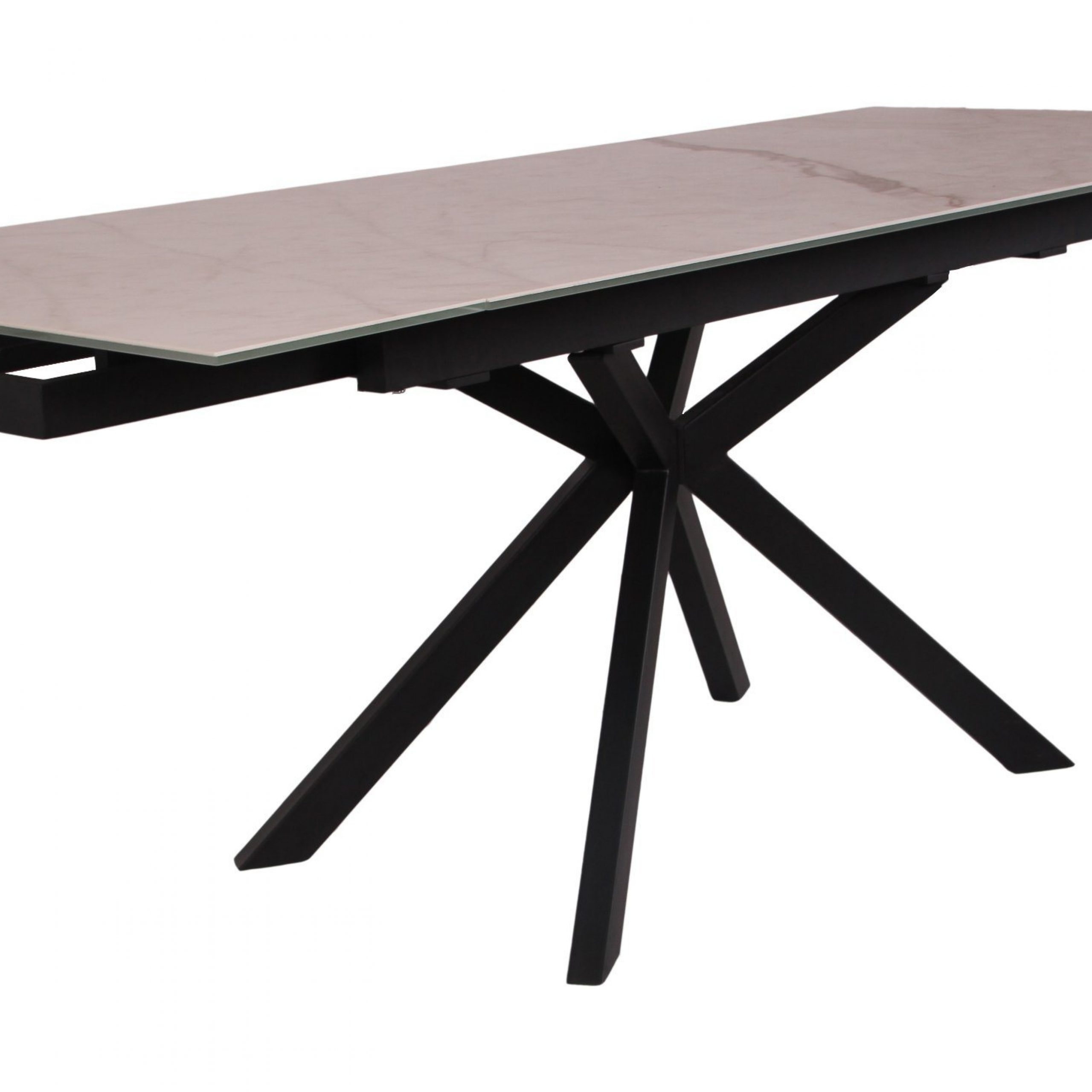 China Extension Iron Glass Top With Metal Legs Dining Table With Regard To Well Known Iron Wood Dining Tables With Metal Legs (View 17 of 25)