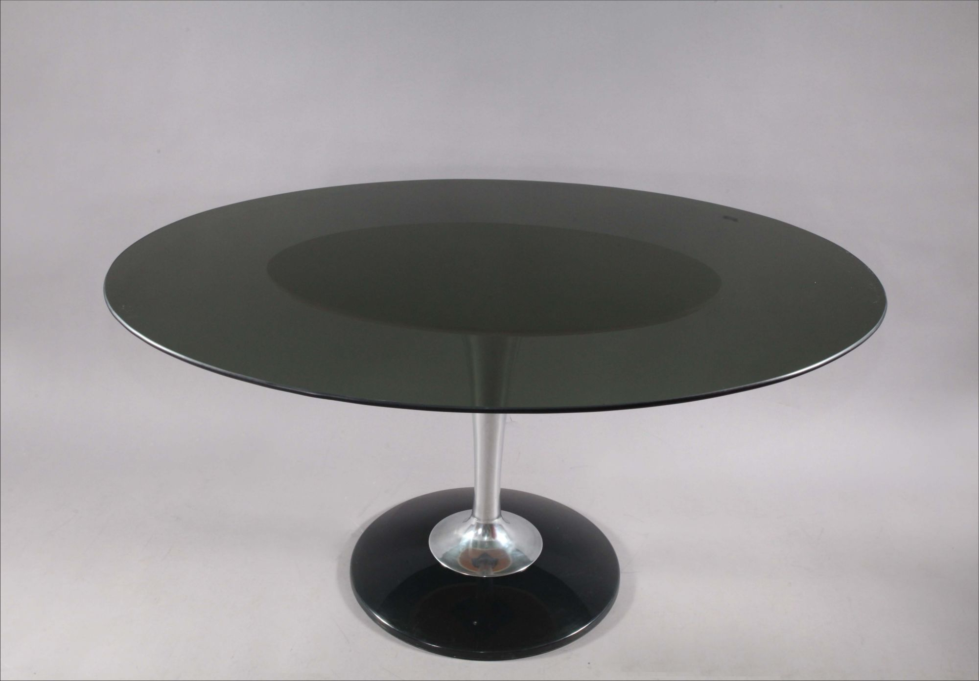 Chromcraft Smoke Lucite Dining Set: Six Swiveling Tulip For Newest Smoked Oval Glasstop Dining Tables (View 11 of 25)