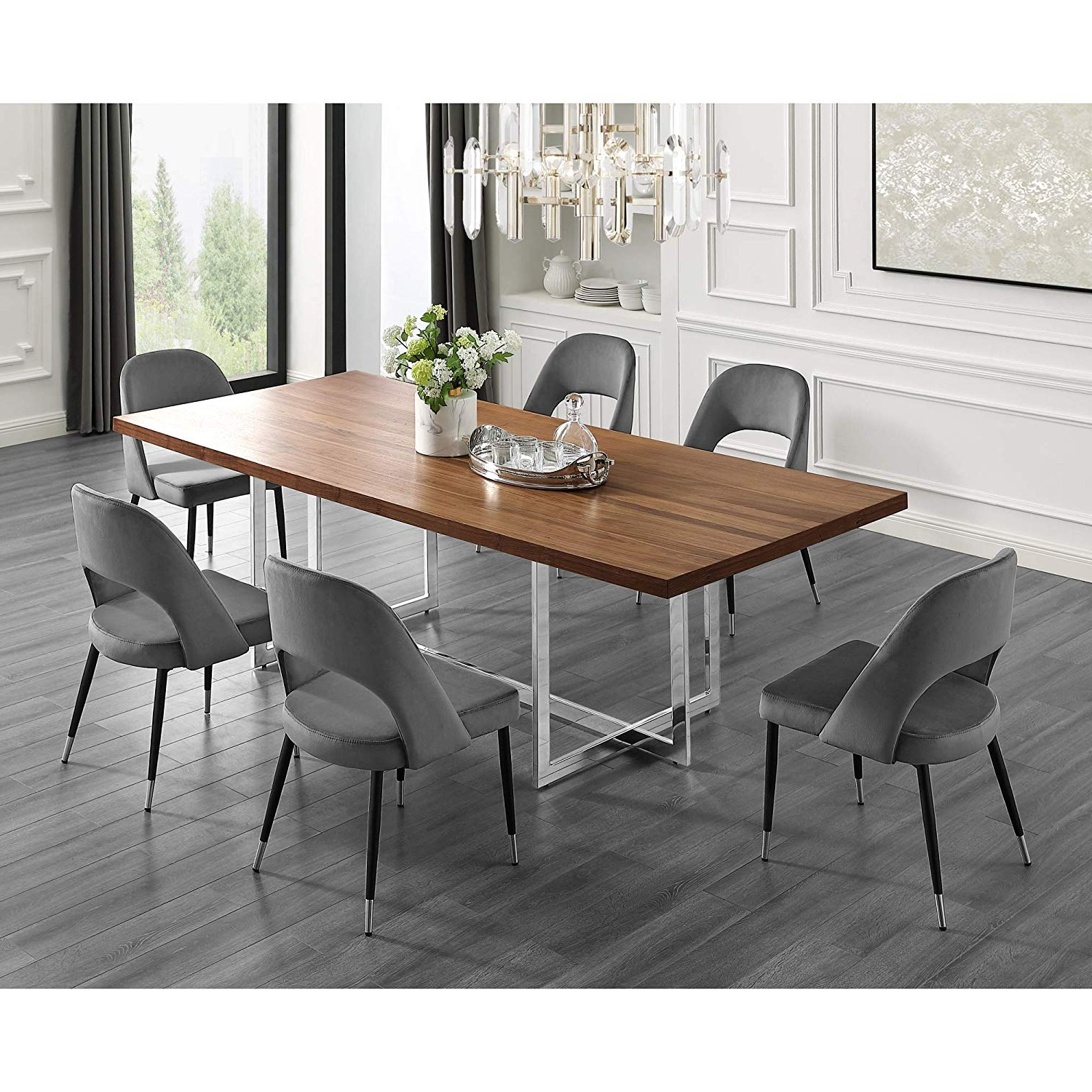 Chrome Contemporary Square Casual Dining Tables Inside Most Current Amazon – Maxim Wood Veneer Dining Table (View 8 of 25)