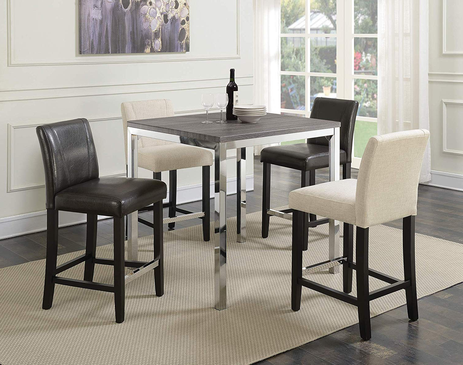 Chrome Contemporary Square Casual Dining Tables Inside Widely Used Amazon – Benjara Benzara Bm168112 Square Counter Height (View 2 of 25)
