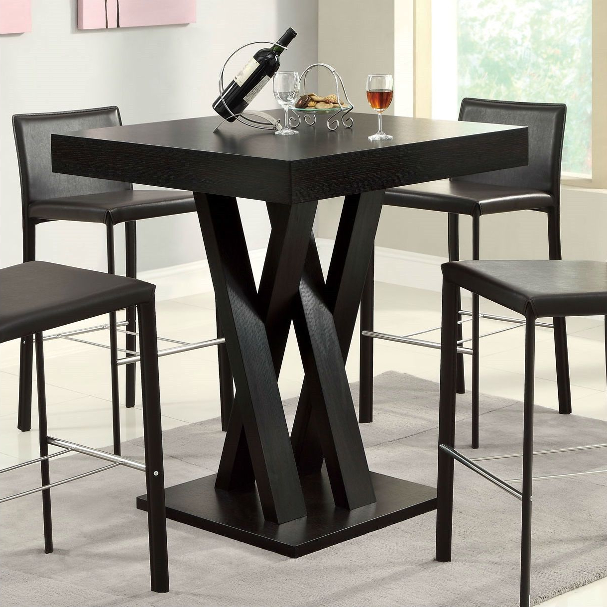 Chrome Contemporary Square Casual Dining Tables Regarding Popular Modern 40 Inch High Square Dining Table In Dark Cappuccino (View 4 of 25)