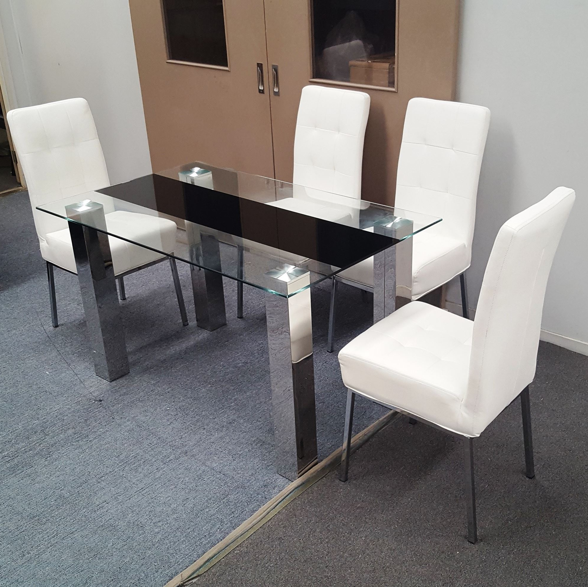 Chrome Dining Tables With Tempered Glass For Preferred Levi Dining Table Tempered Glass 1300Mm X 800Mm (Table Only) (View 20 of 25)