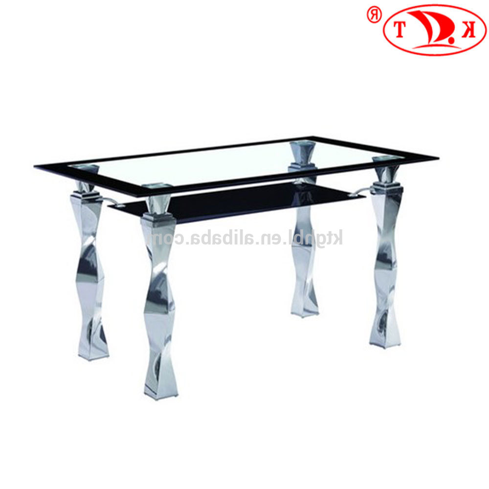 Chrome Dining Tables With Tempered Glass In Widely Used 2018 Tempered Glass Top And Chrome Leg Two Layers Glass Dining Table – Buy Glass Top And Chrome Leg Two Layers Glass Dining Table,4 Seaters Dining (View 10 of 25)