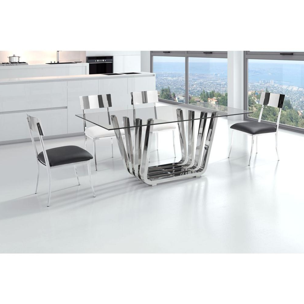 Chrome Dining Tables With Tempered Glass Intended For Favorite Fan Chrome Dining Table (View 7 of 25)