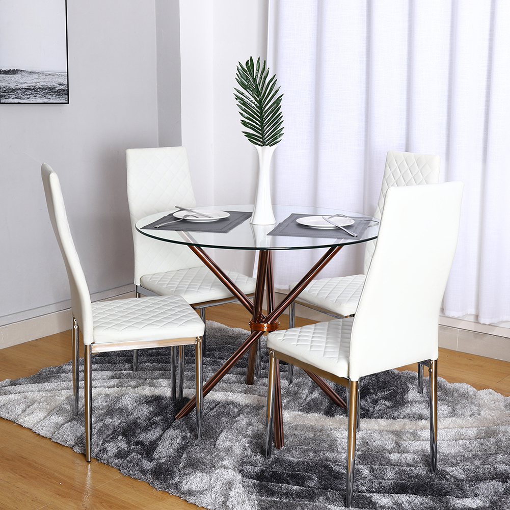 Chrome Dining Tables With Tempered Glass Regarding Most Current Details About Modern 90Cm Round Tempered Glass Dining Table With 4 Chrome Legs Cafe Bar Tables (View 11 of 25)