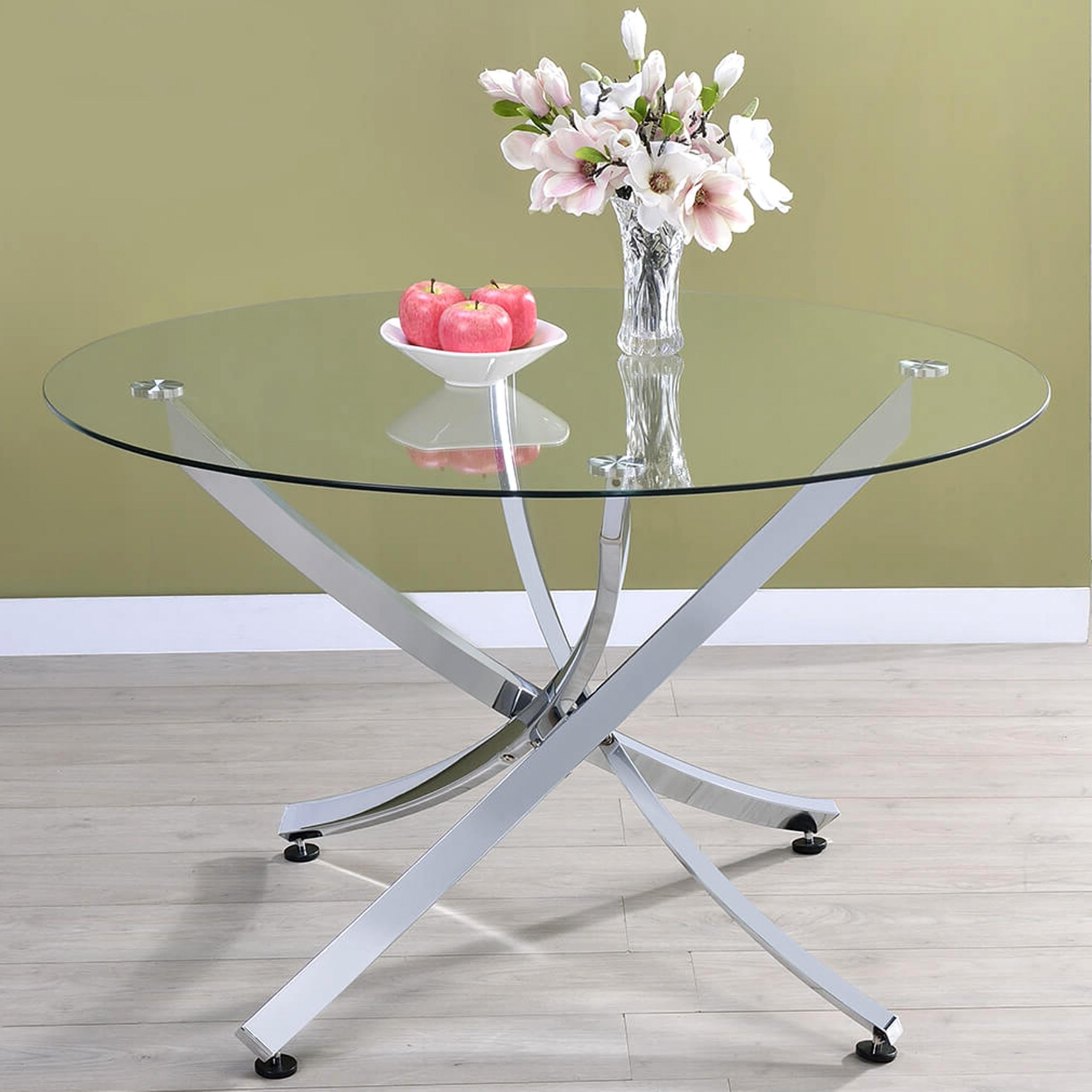 Chrome Dining Tables With Tempered Glass With 2020 Modern Chrome Artistic Design Round Dining Table With Tempered Glass Top (View 15 of 25)