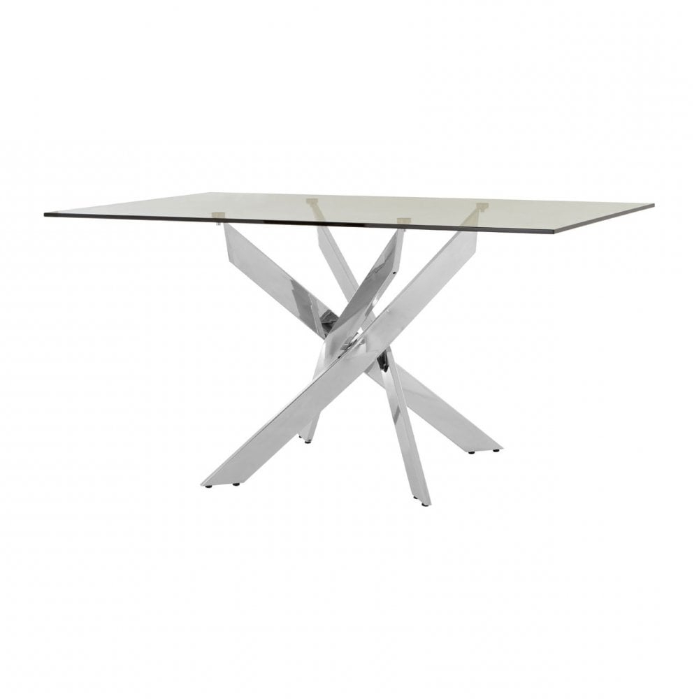 Chrome Dining Tables With Tempered Glass Within Preferred Clanbay Enrich Rectangular Chrome Dining Table, Tempered Glass, Silver (View 17 of 25)