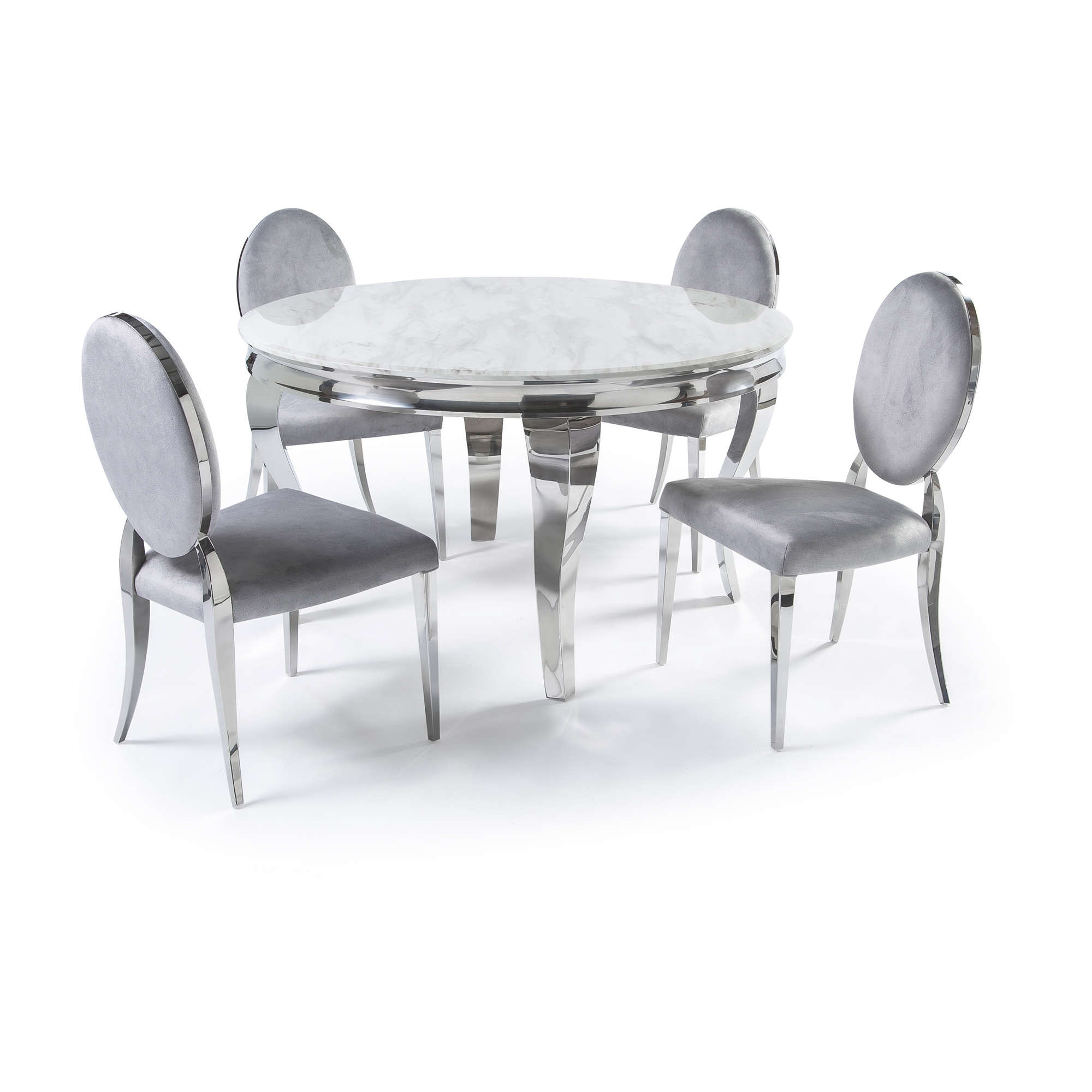 Circular Polished Steel Dining White Marble Table Set Grey For Well Liked Solid Wood Circular Dining Tables White (View 22 of 25)