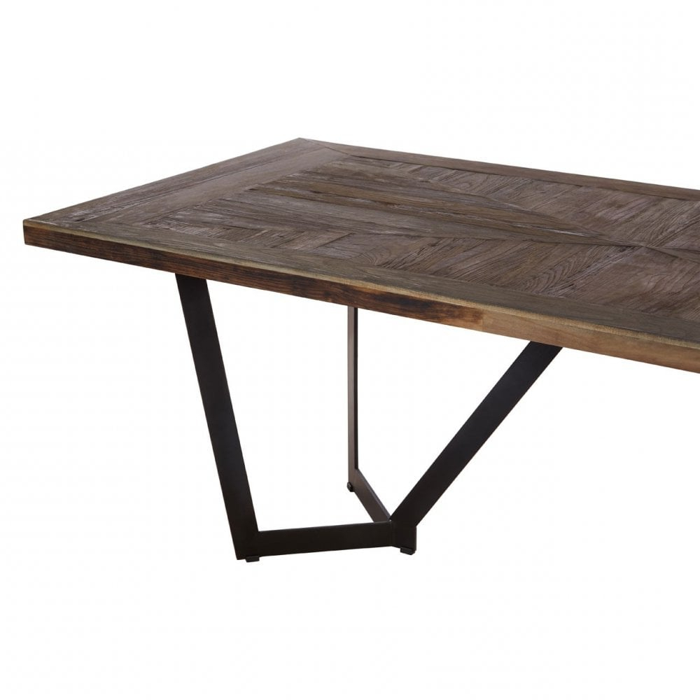 Clanbay Midas Dining Table, Elm Wood, Iron, Brown Inside Well Known Iron Wood Dining Tables (View 22 of 25)