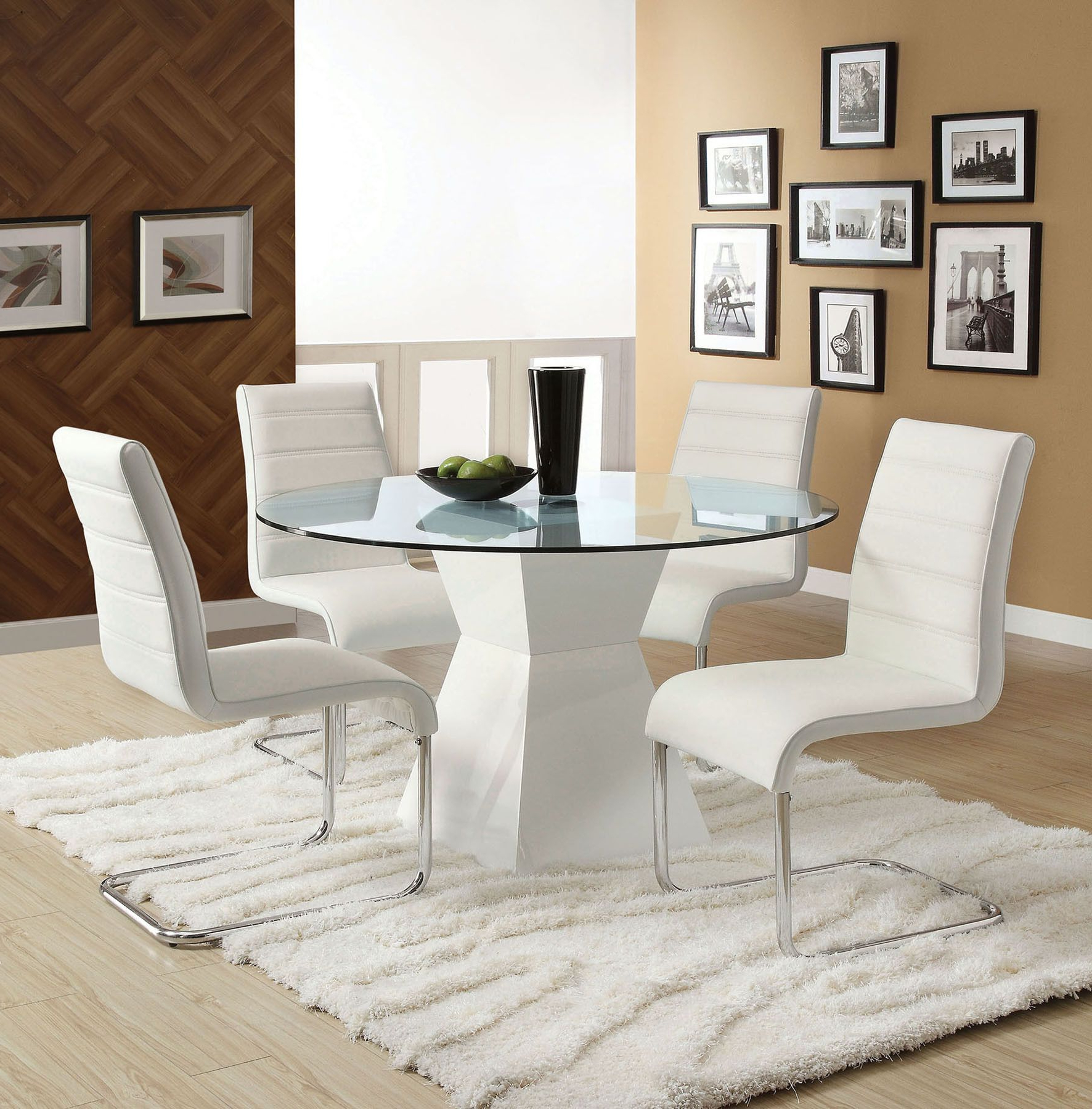 Cm8371T Mauna Collection White Glass Top Round Dining Table For Widely Used Modern Round Glass Top Dining Tables (View 19 of 25)