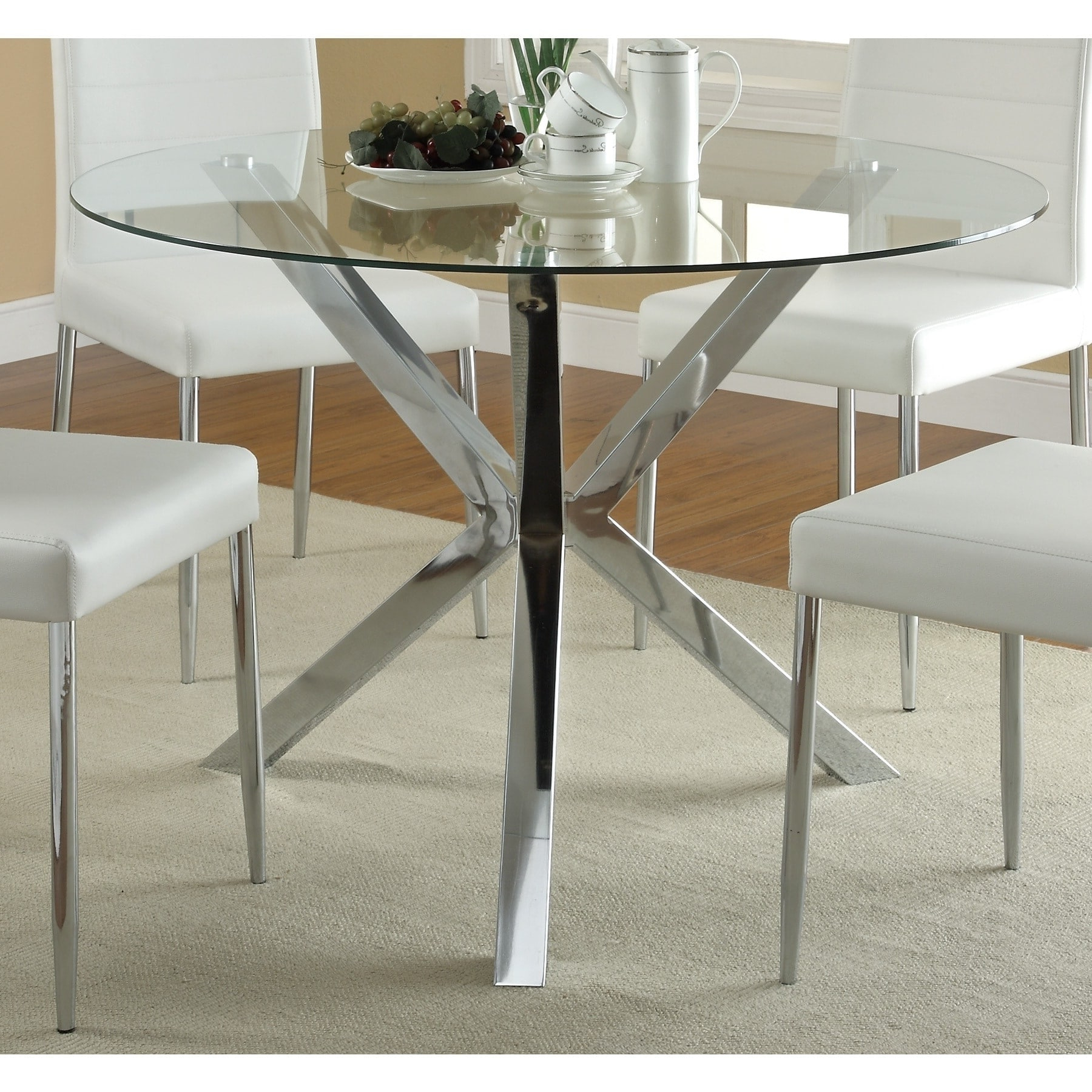 Coaster Vance Contemporary Glass Top Round Dining Table In With Fashionable Round Glass Top Dining Tables (View 4 of 25)