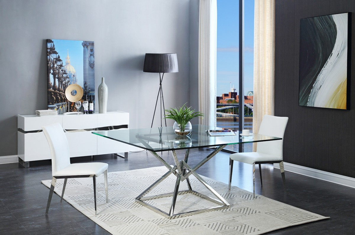 Contemporary 4 Seating Square Dining Tables Pertaining To Trendy Modrest Xander Modern Square Glass Dining Table (View 10 of 25)