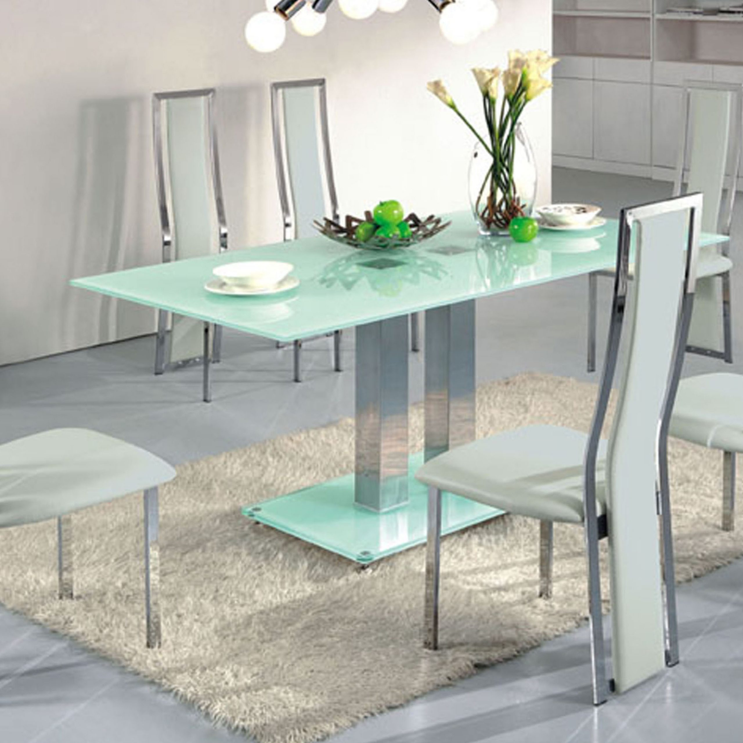 Contemporary Dining Table With Glass Top And Bas With Throughout Trendy Steel And Glass Rectangle Dining Tables (View 16 of 25)