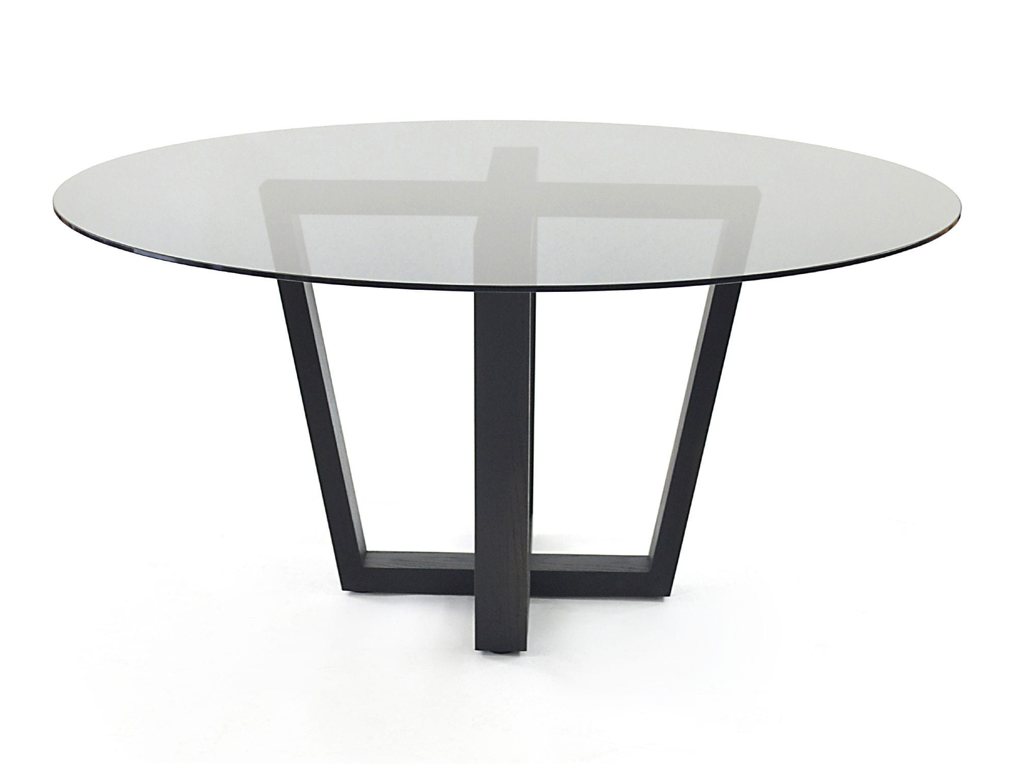Contemporary Dining Table / Wooden / Glass / Round – Smoked With Well Liked Smoked Oval Glasstop Dining Tables (View 2 of 25)