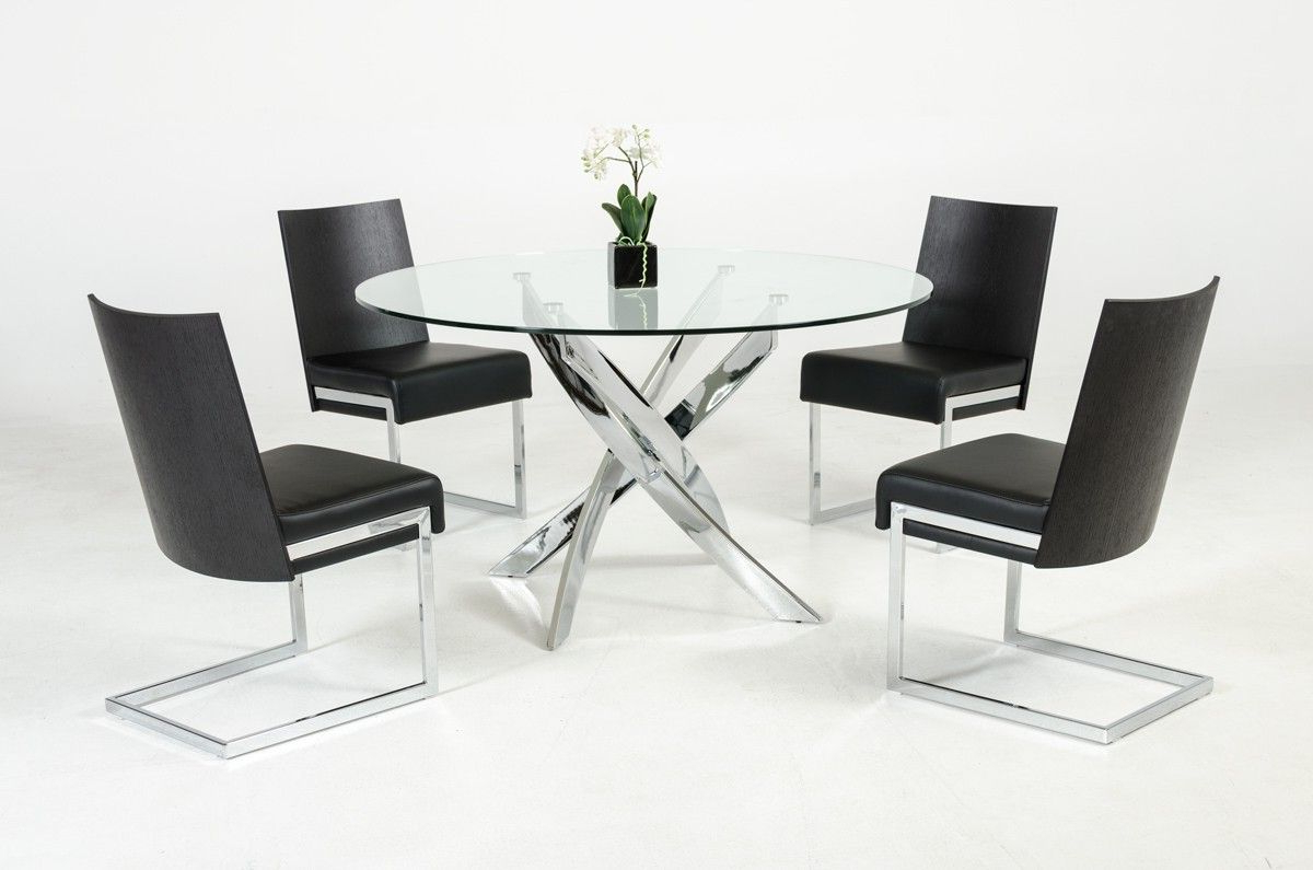 Contemporary Round Glass Top And Stainless Steel Base Dining Regarding Popular Chrome Dining Tables With Tempered Glass (View 9 of 25)